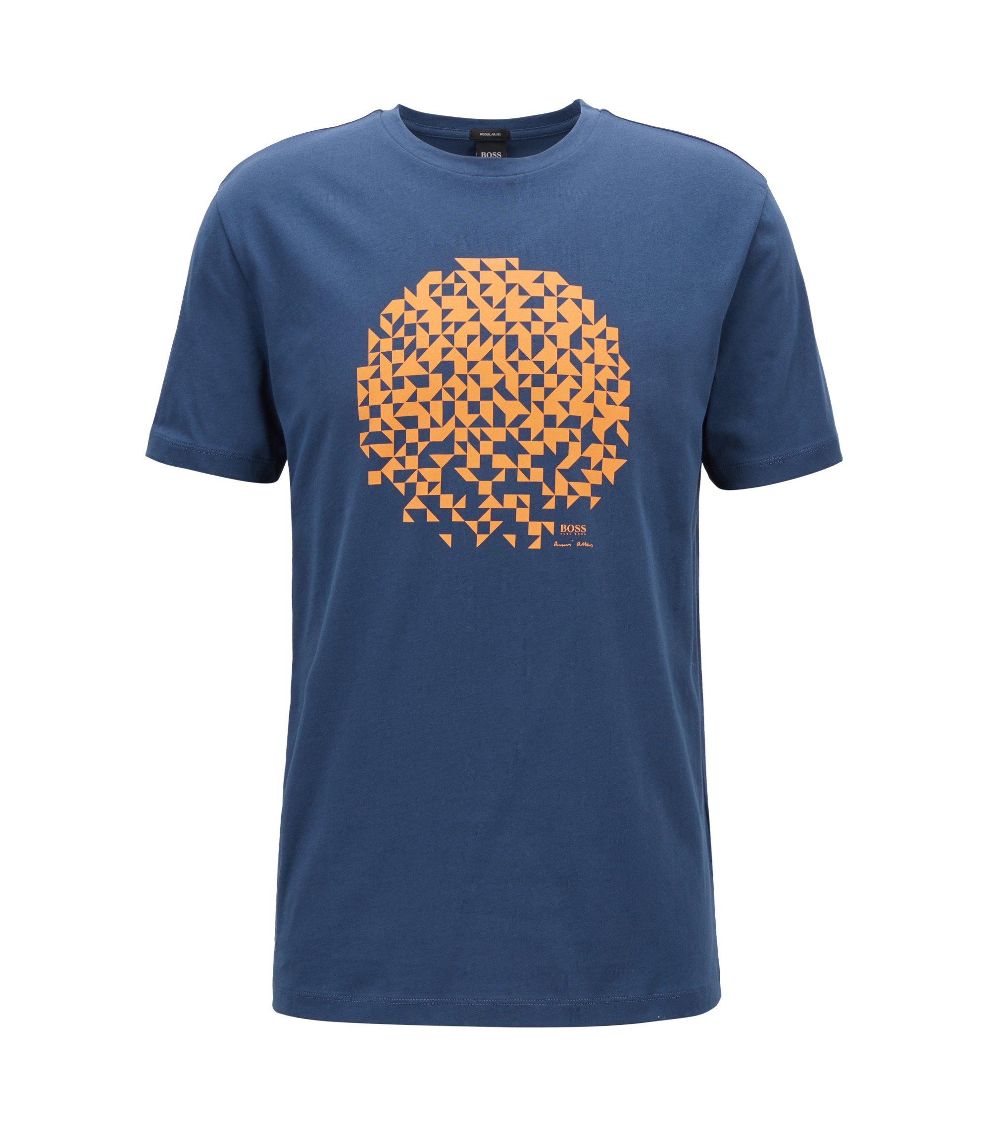T-Shirt aus Jersey mit Artwork im Stil von Anni Albers, Blau