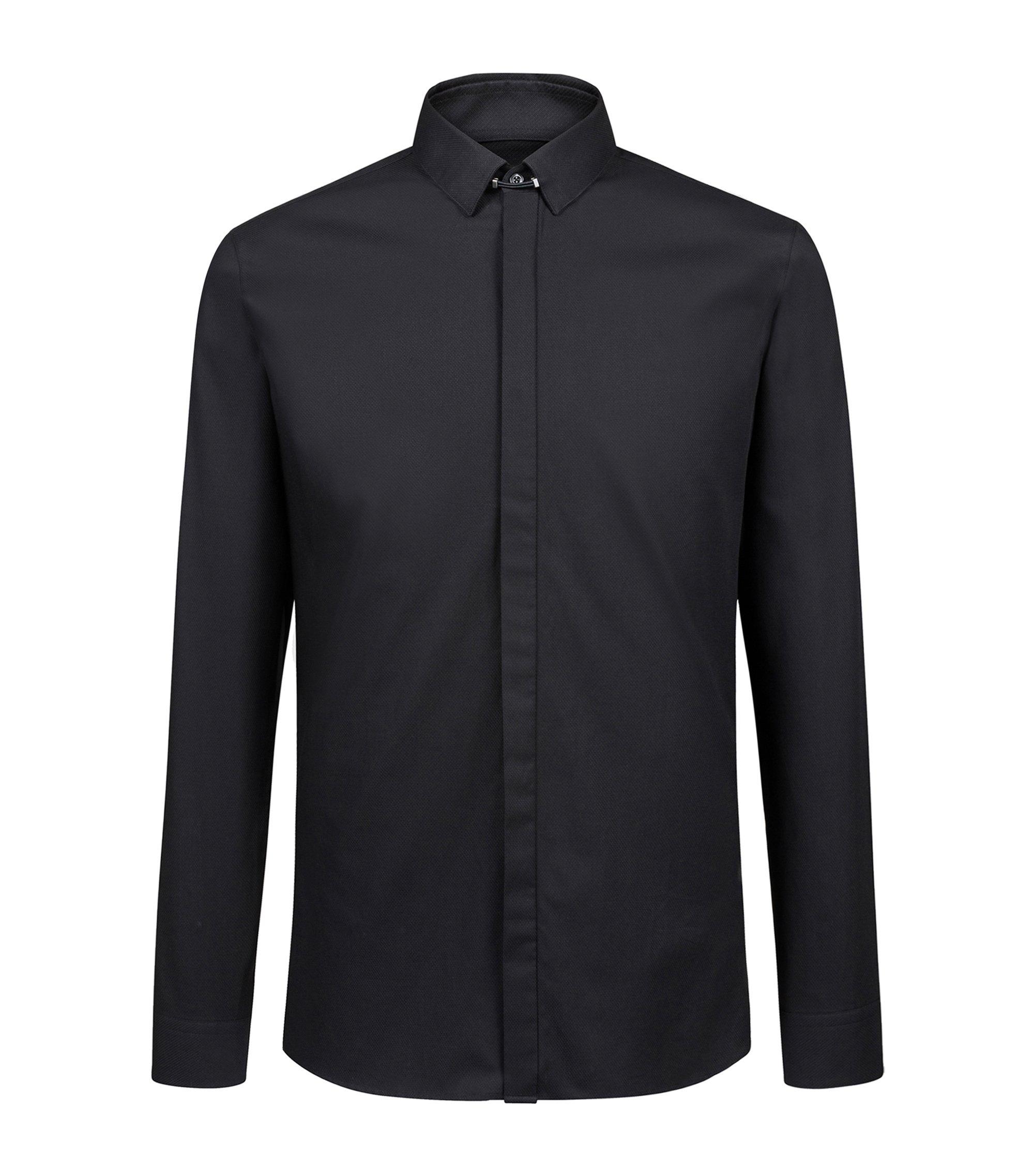 Extra slim-fit overhemd van katoen met tabboord, Zwart
