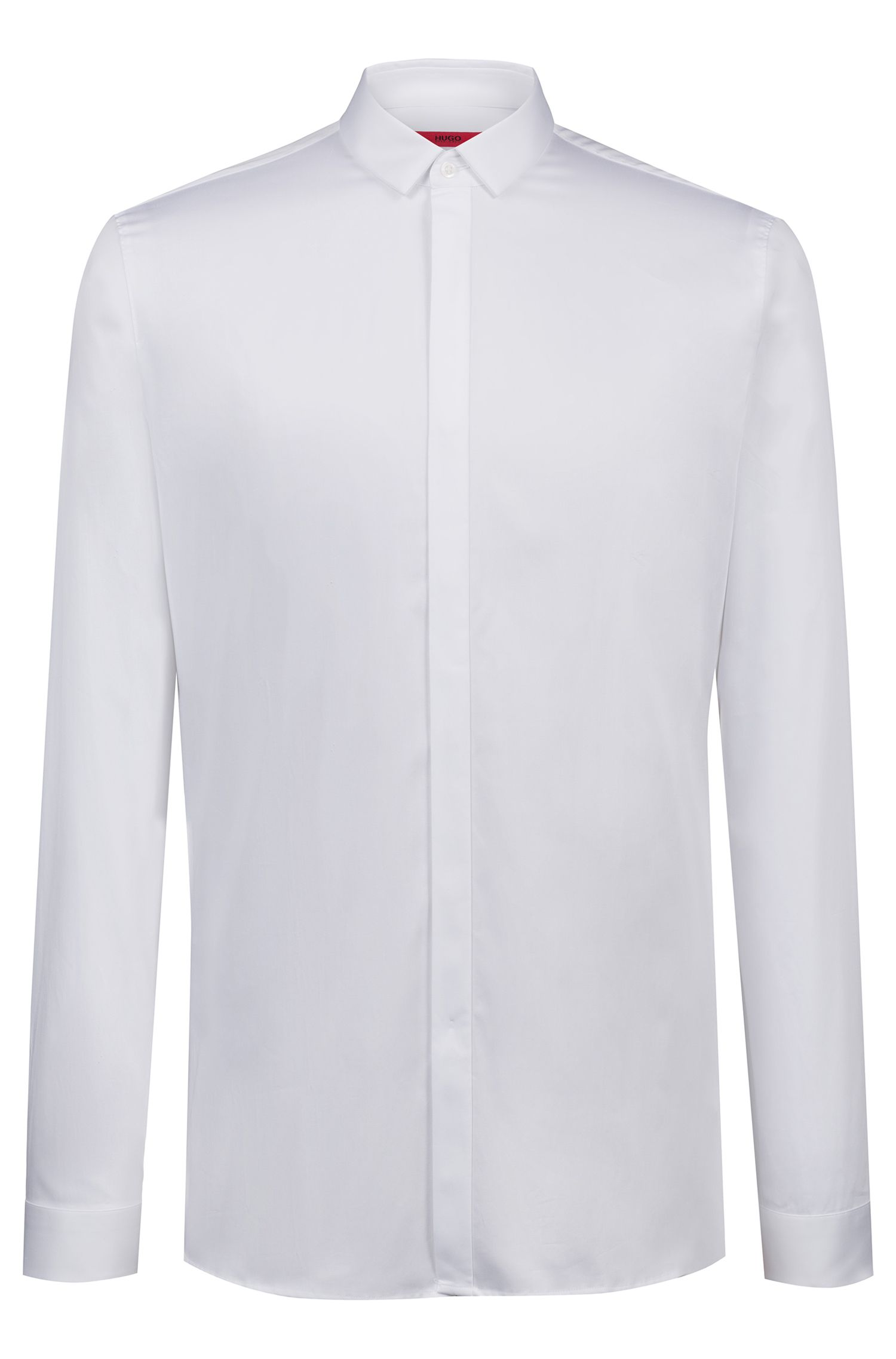 Camisa business extra slim fit en satén de algodón, Blanco