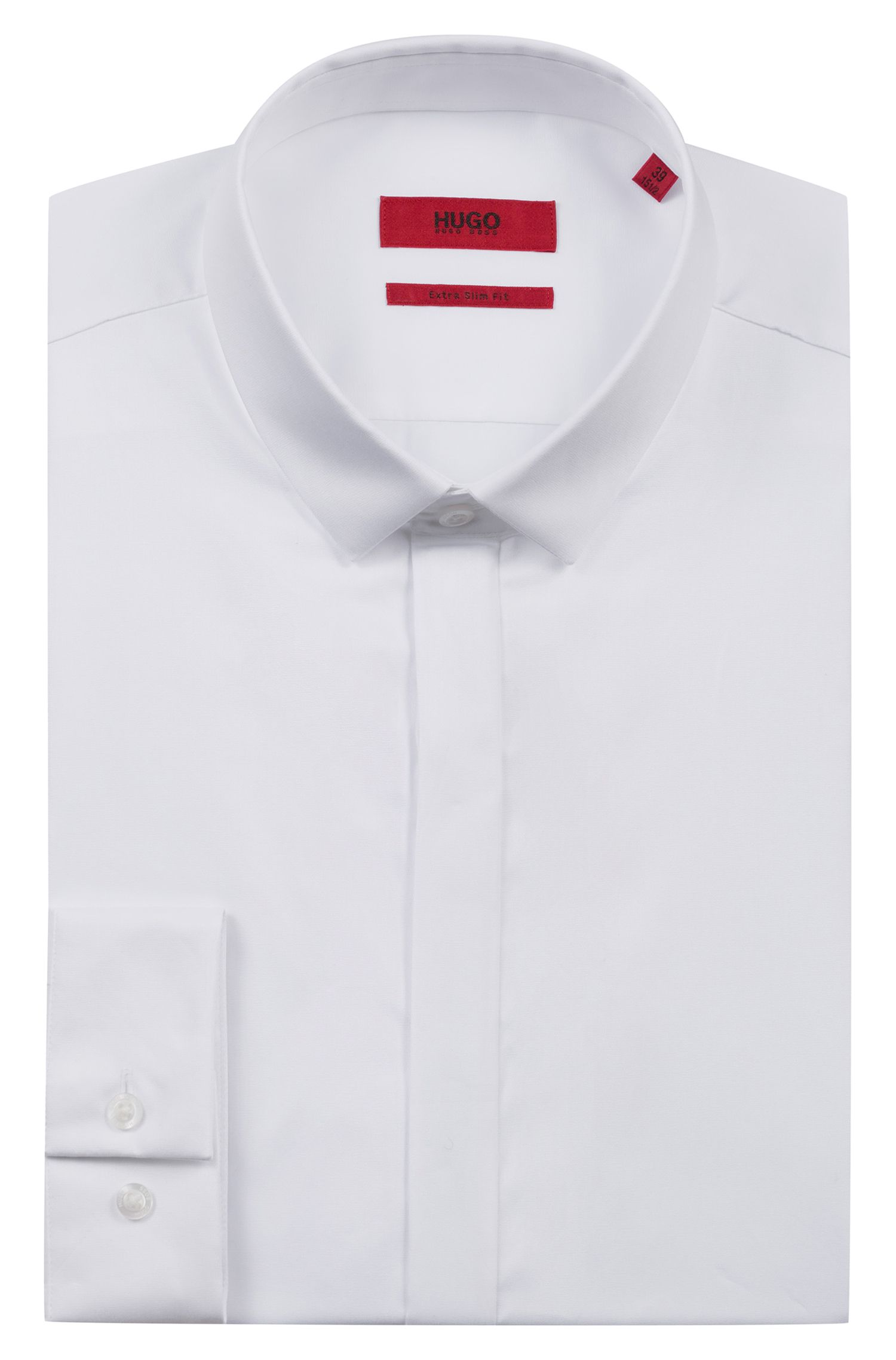 Chemise business Extra Slim Fit en satin de coton, Blanc