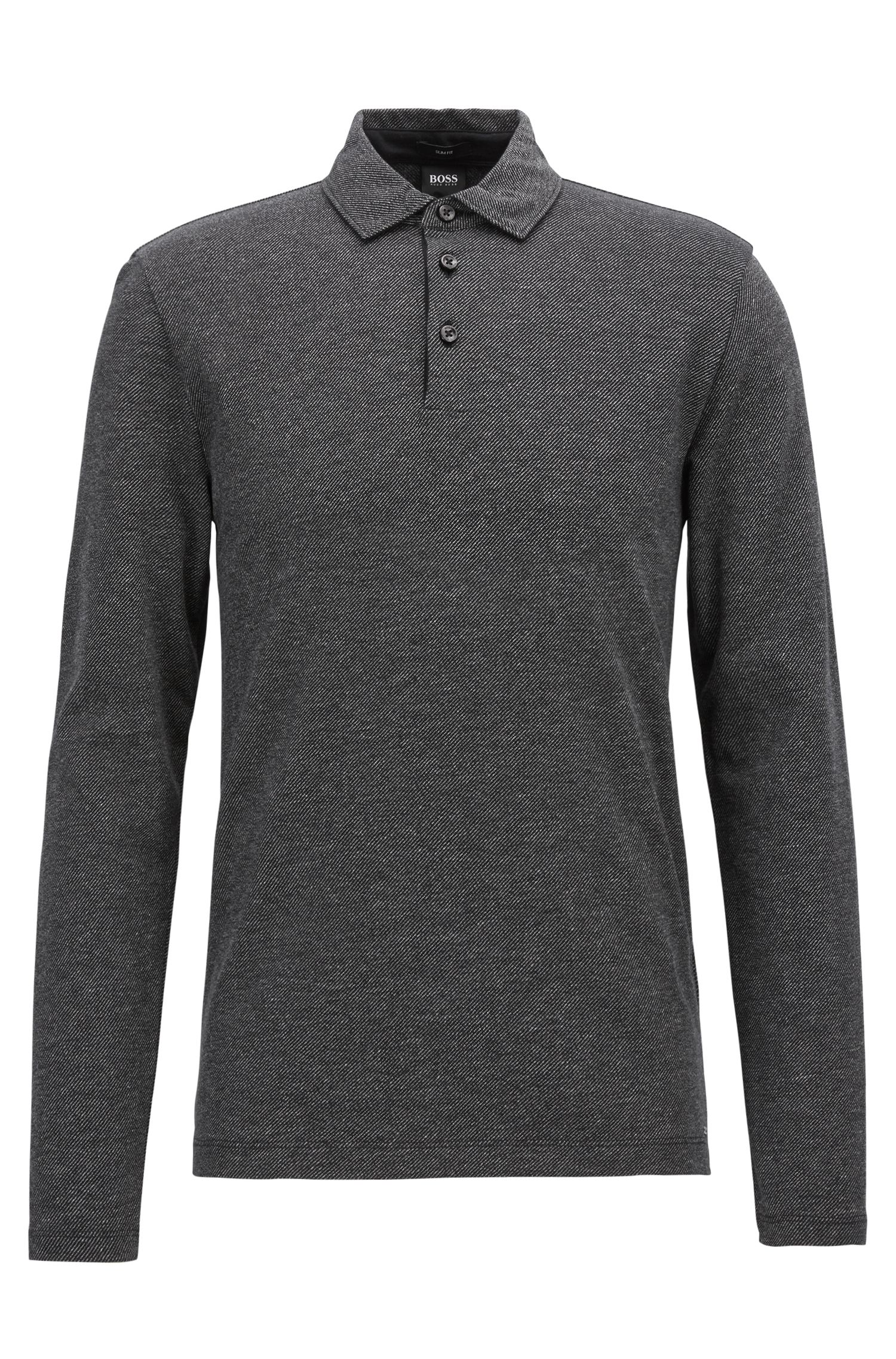 Polo slim fit in cotone a righe mouliné, Nero