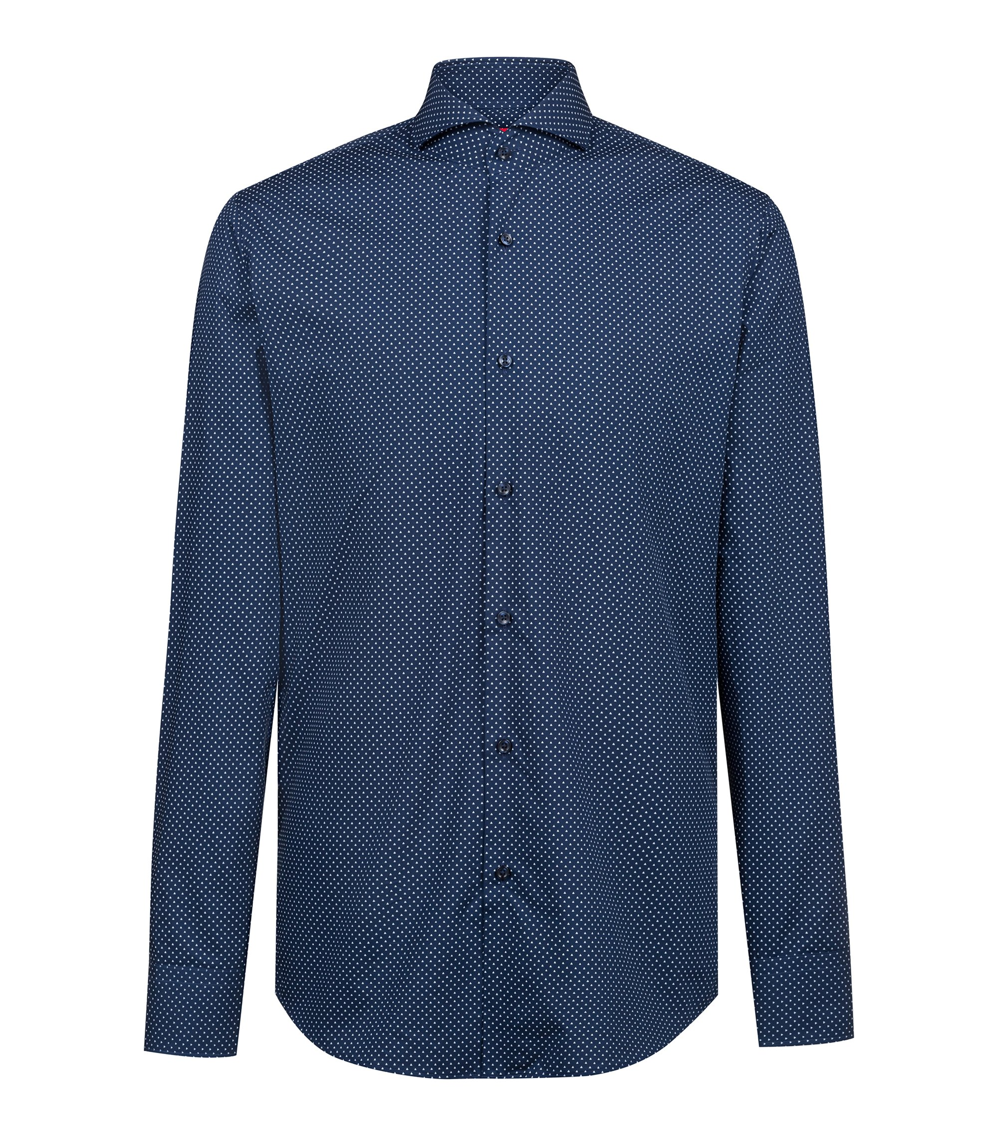 Camicia regular fit in cotone stampato con colletto alla francese, Blu scuro
