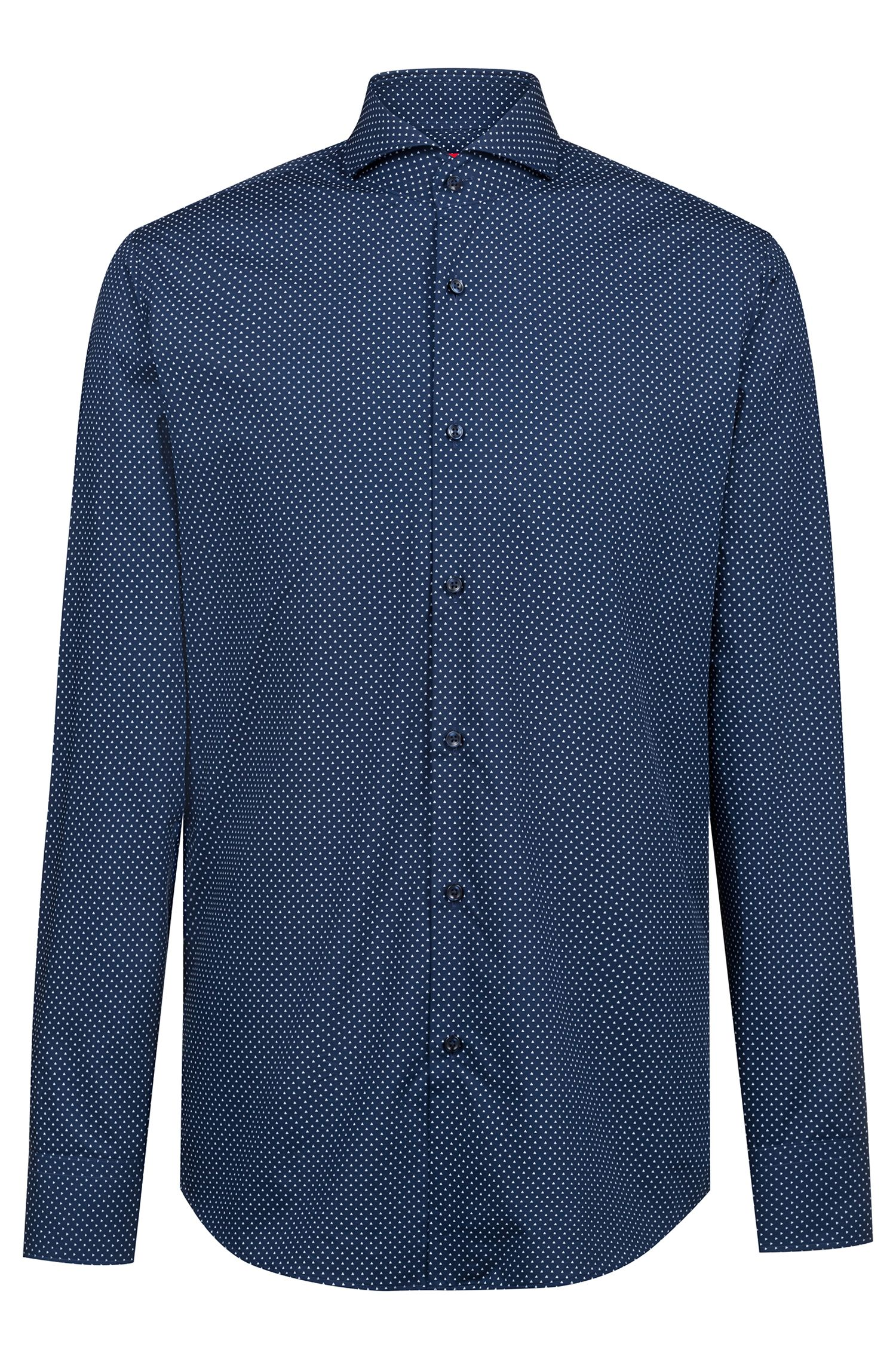 Regular-fit shirt in printed cotton with spread collar, Dark Blue