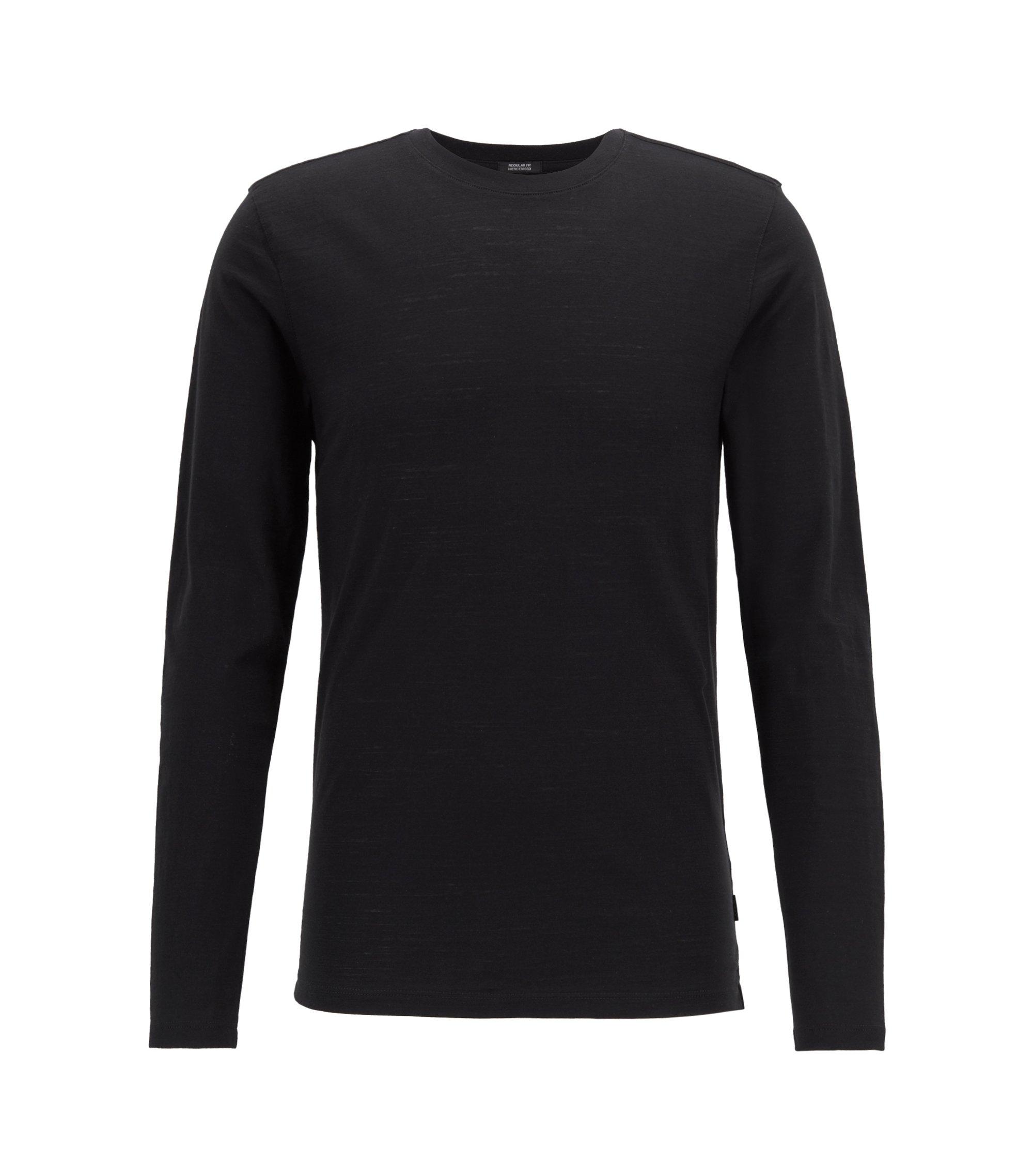 T-shirt Slim Fit à manches longues en coton flammé mercerisé, Noir