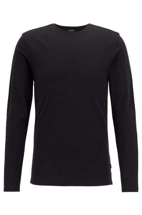 Long-sleeved regular-fit T-shirt in mercerised slub cotton, Black