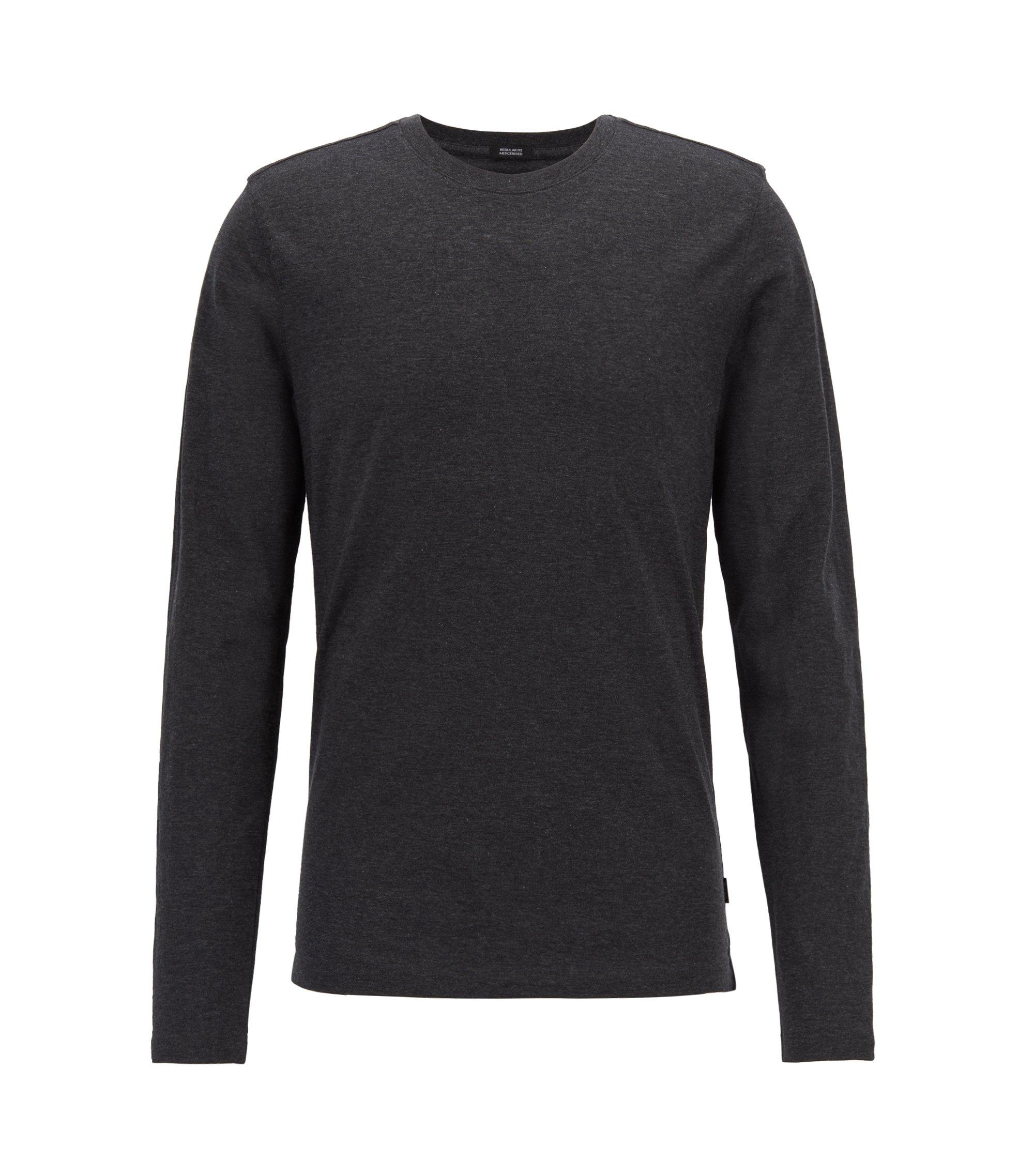 Slim-fit T-shirt met lange mouwen, van gemerceriseerde katoen, Donkergrijs
