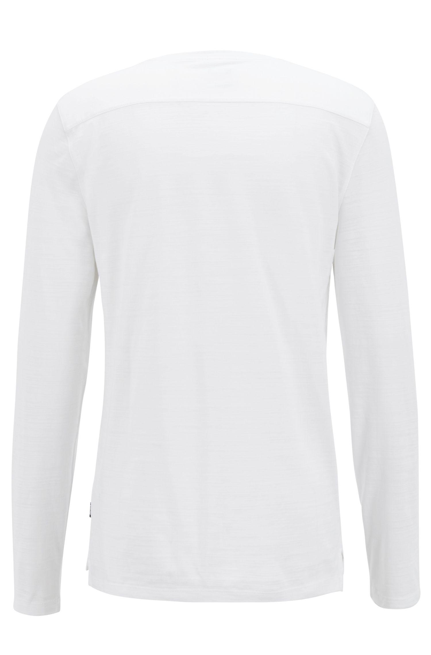 Camiseta regular fit de manga larga en algodón flameado mercerizado, Blanco