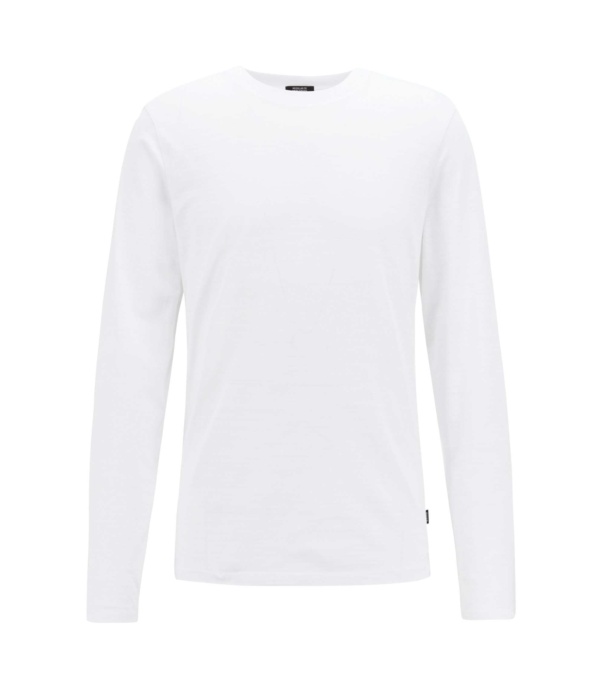 Camiseta slim fit de manga larga en algodón flameado mercerizado, Blanco
