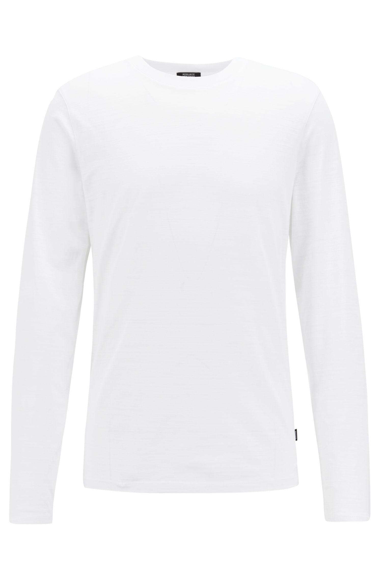 Longsleeve aus merzerisiertem Single Jersey, Weiß