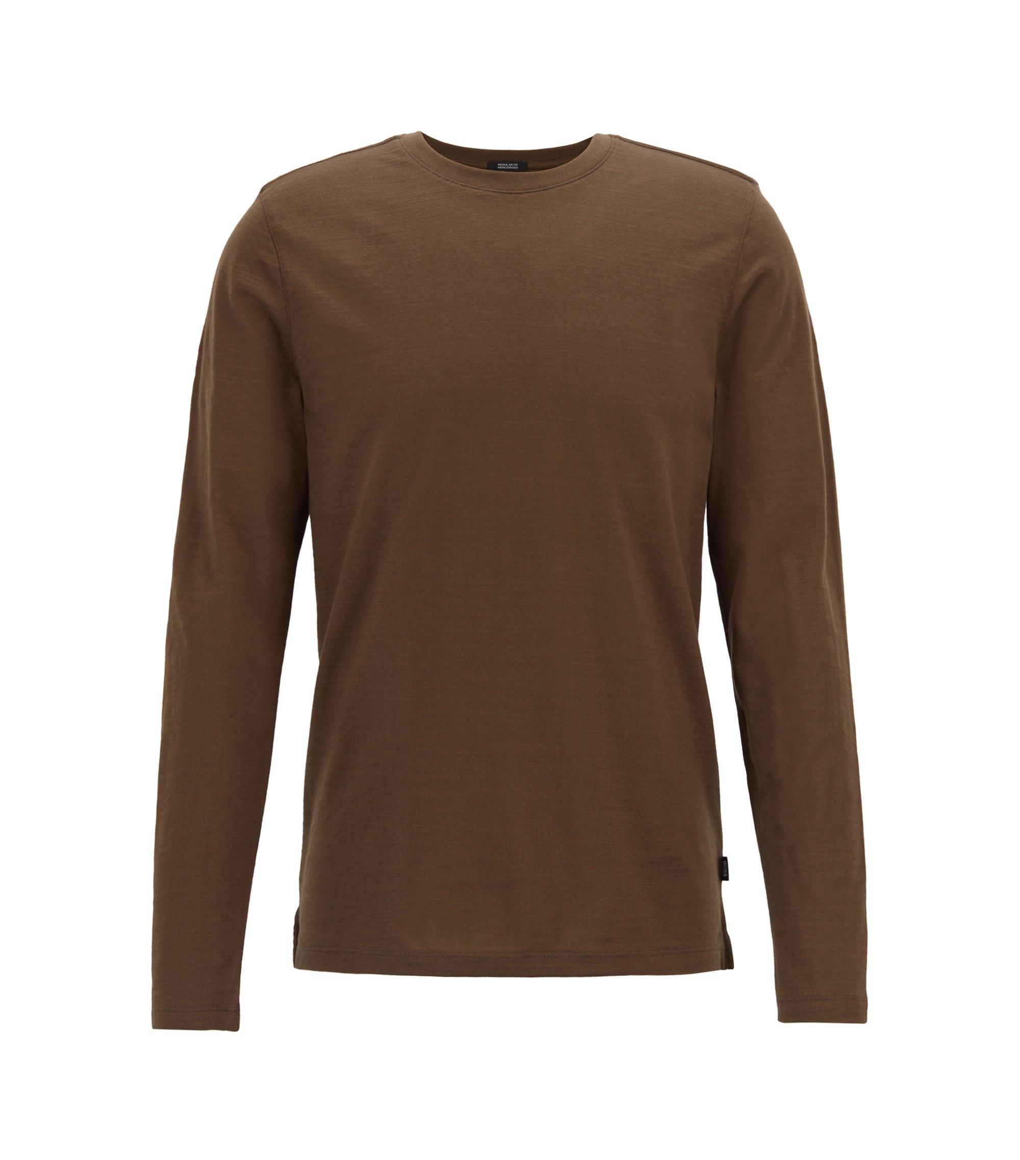 Slim-fit T-shirt met lange mouwen, van gemerceriseerde katoen, Kalk