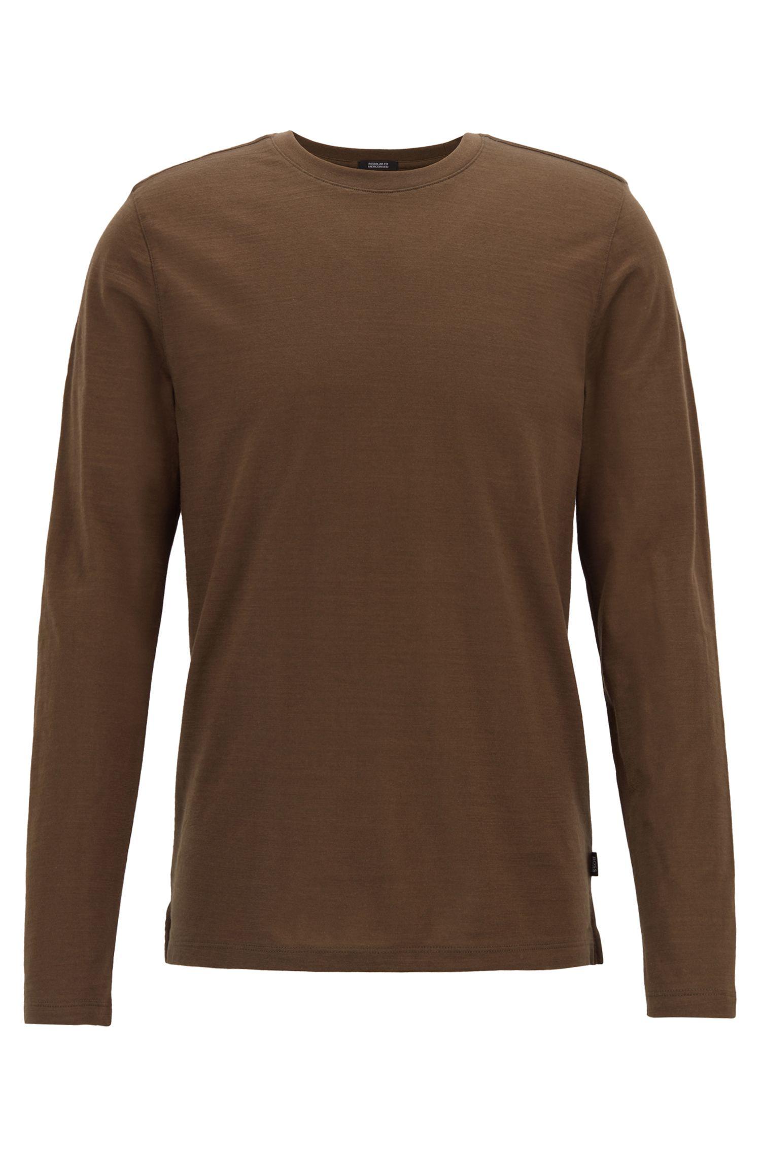 T-shirt Regular Fit à manches longues en coton flammé mercerisé, Kaki