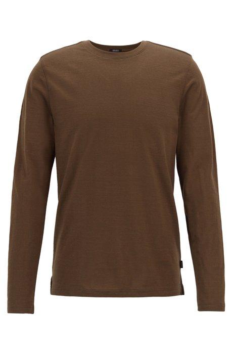 Long-sleeved regular-fit T-shirt in mercerised slub cotton, Khaki
