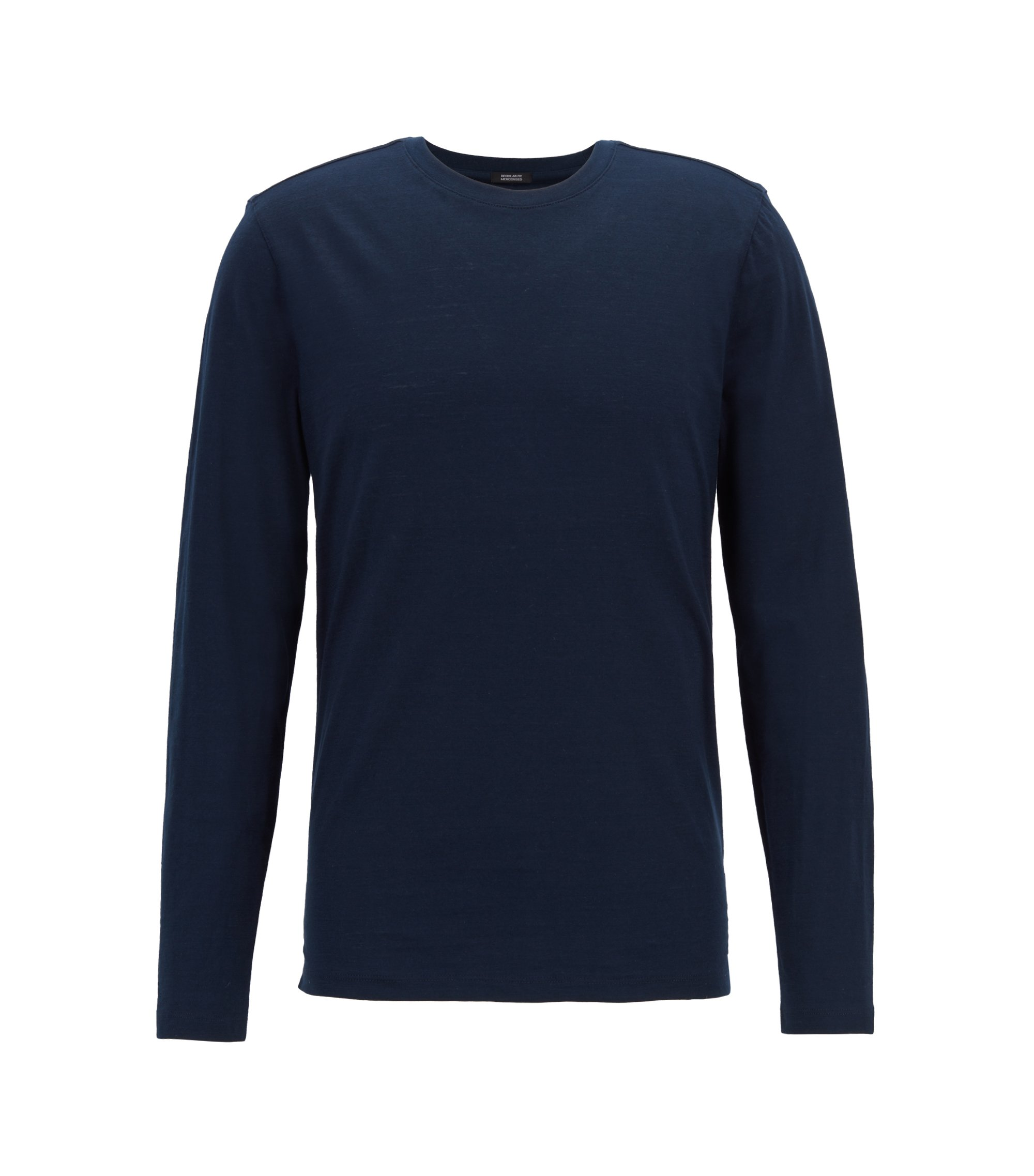 T-shirt Slim Fit à manches longues en coton flammé mercerisé, Bleu foncé