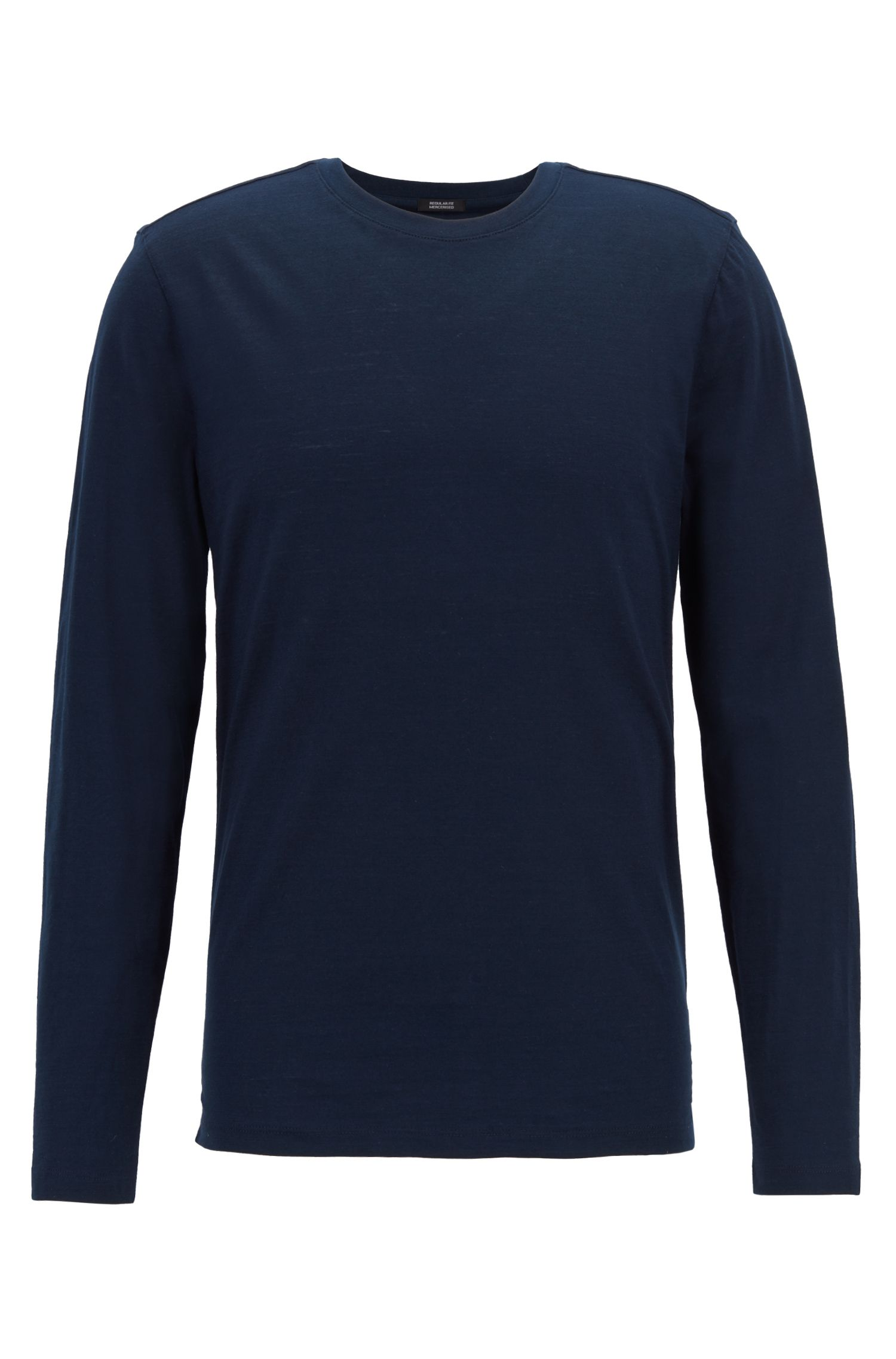Long-sleeved regular-fit T-shirt in mercerised slub cotton, Dark Blue