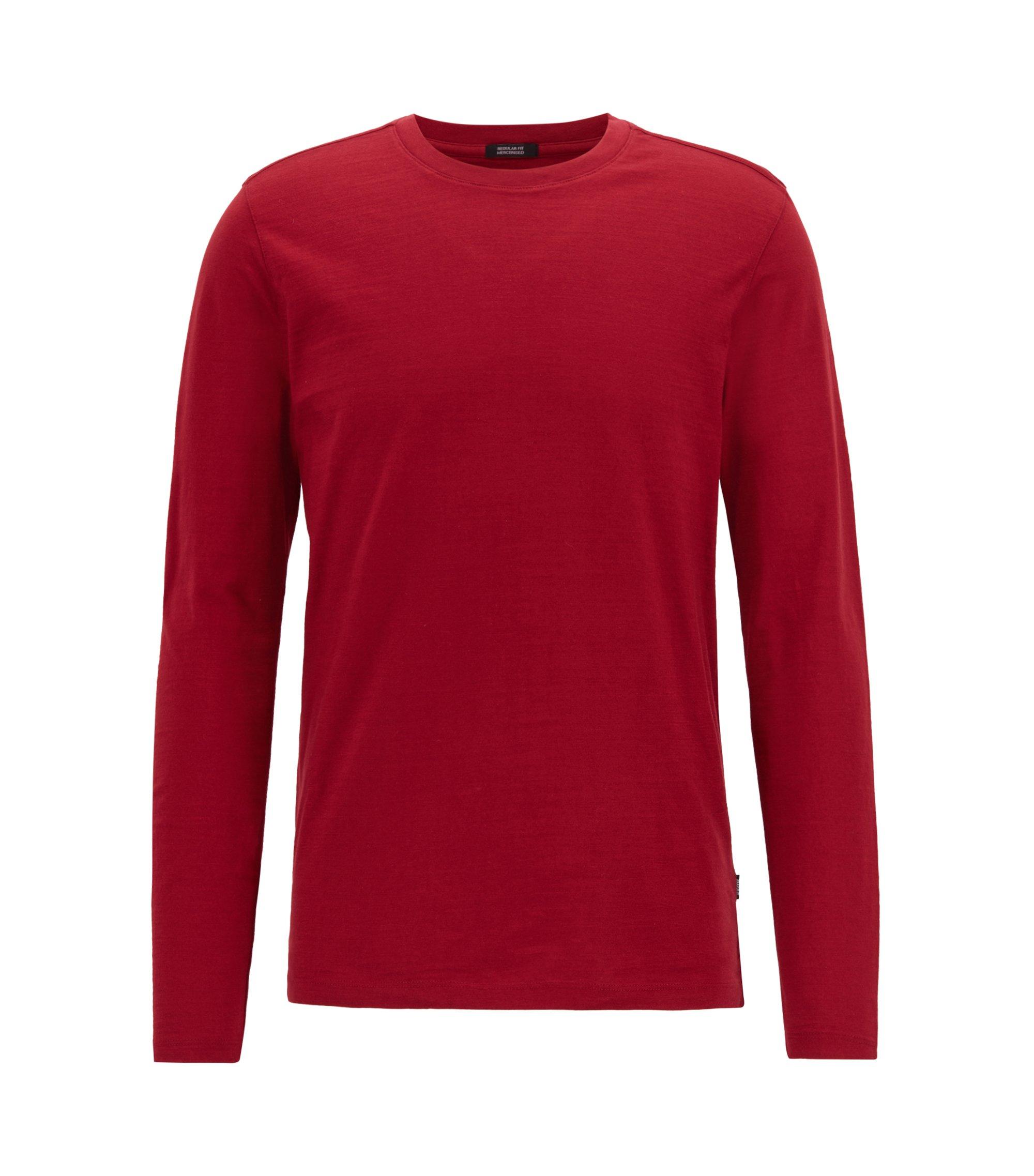 T-shirt Slim Fit à manches longues en coton flammé mercerisé, Rouge sombre