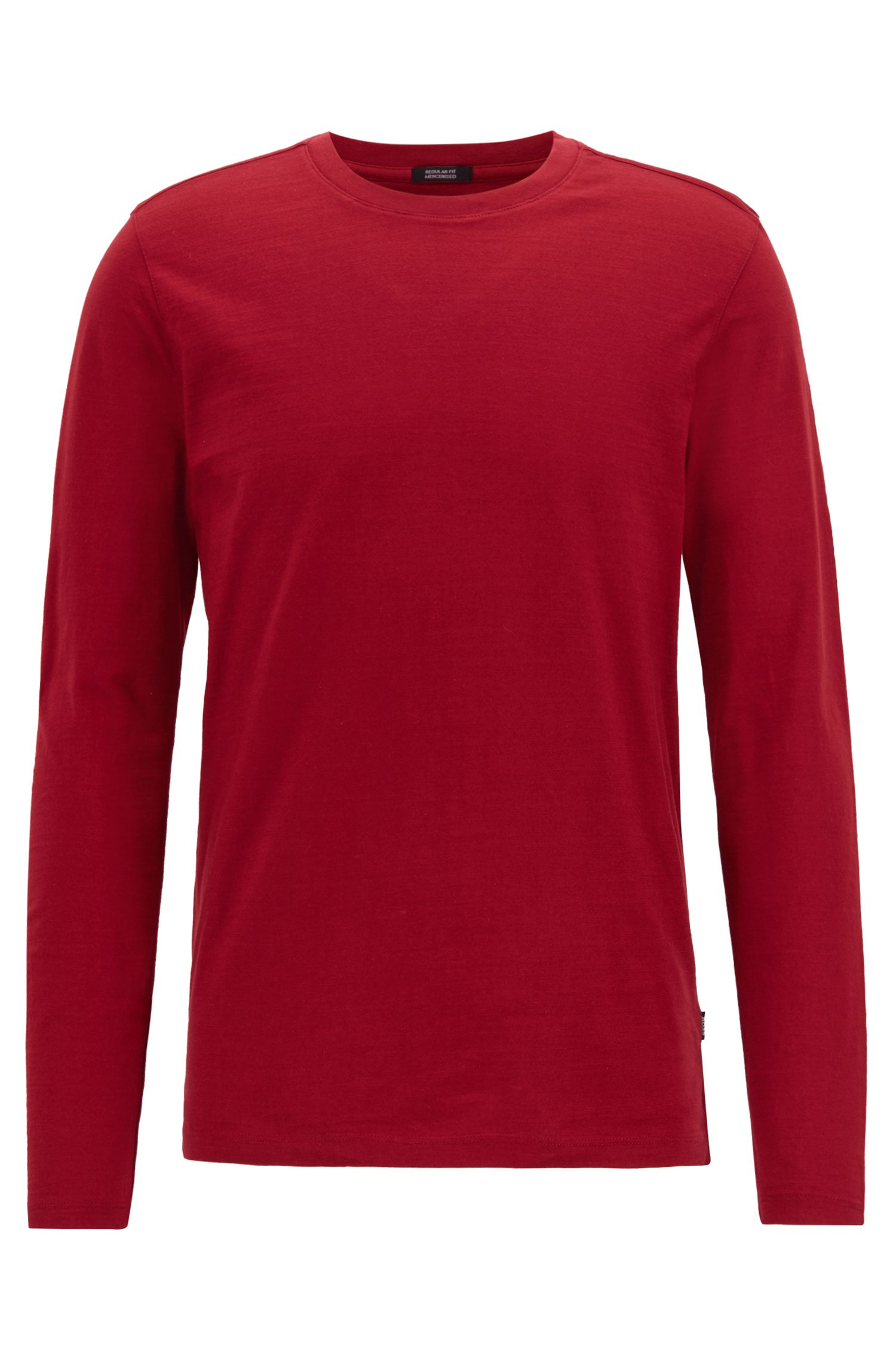 Camiseta regular fit de manga larga en algodón flameado mercerizado, Rojo oscuro