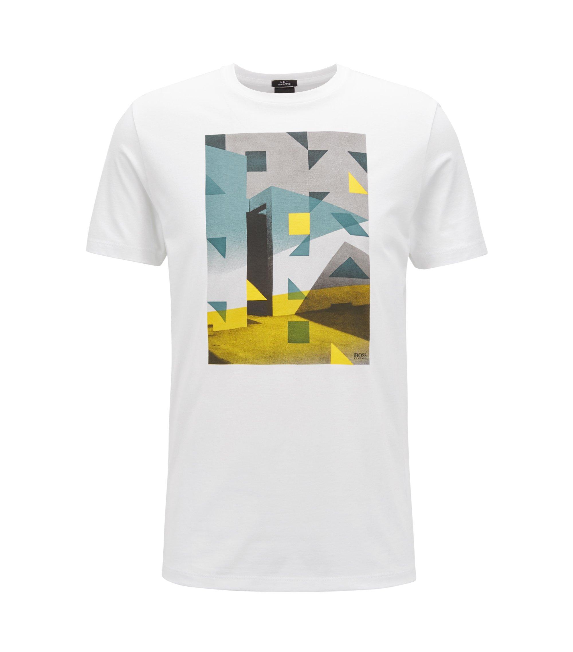 T-Shirt aus Pima-Baumwolle mit Print im Stil von Anni Albers, Weiß