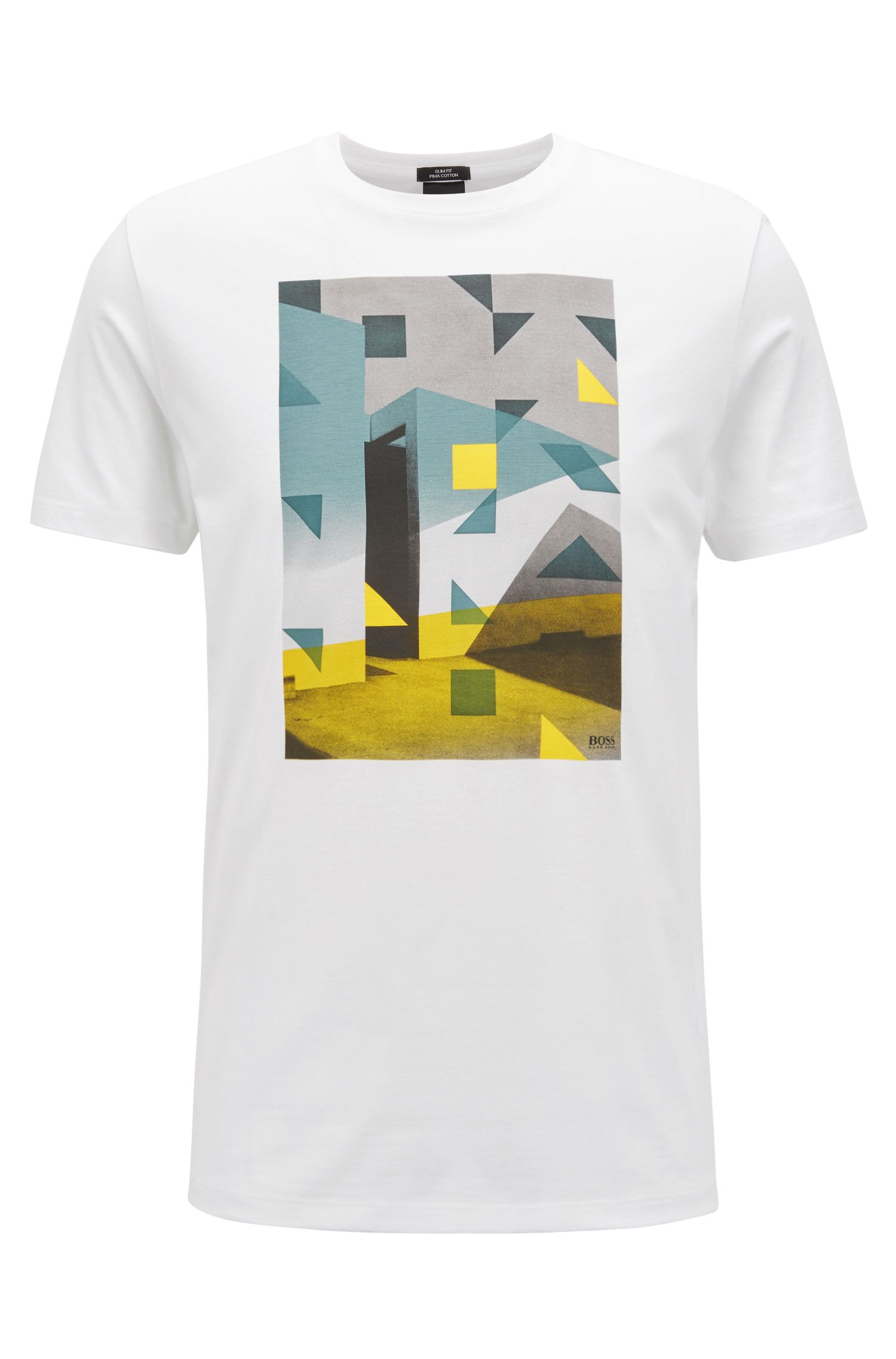 Pima-cotton T-shirt with Anni Albers-inspired artwork, White