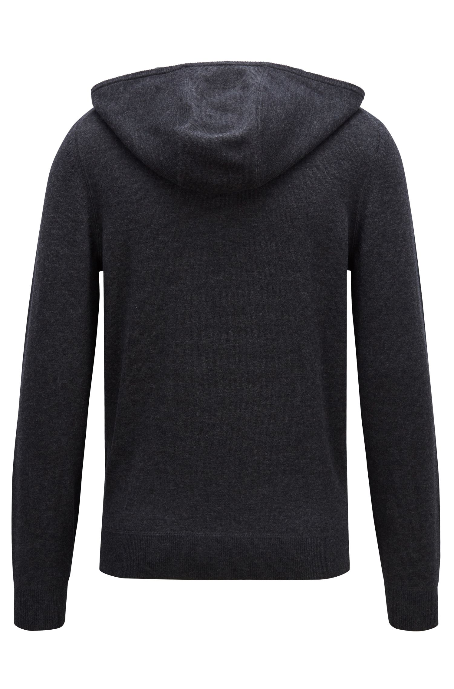 Hooded sweater in a virgin-wool blend with cashmere, Dark Grey