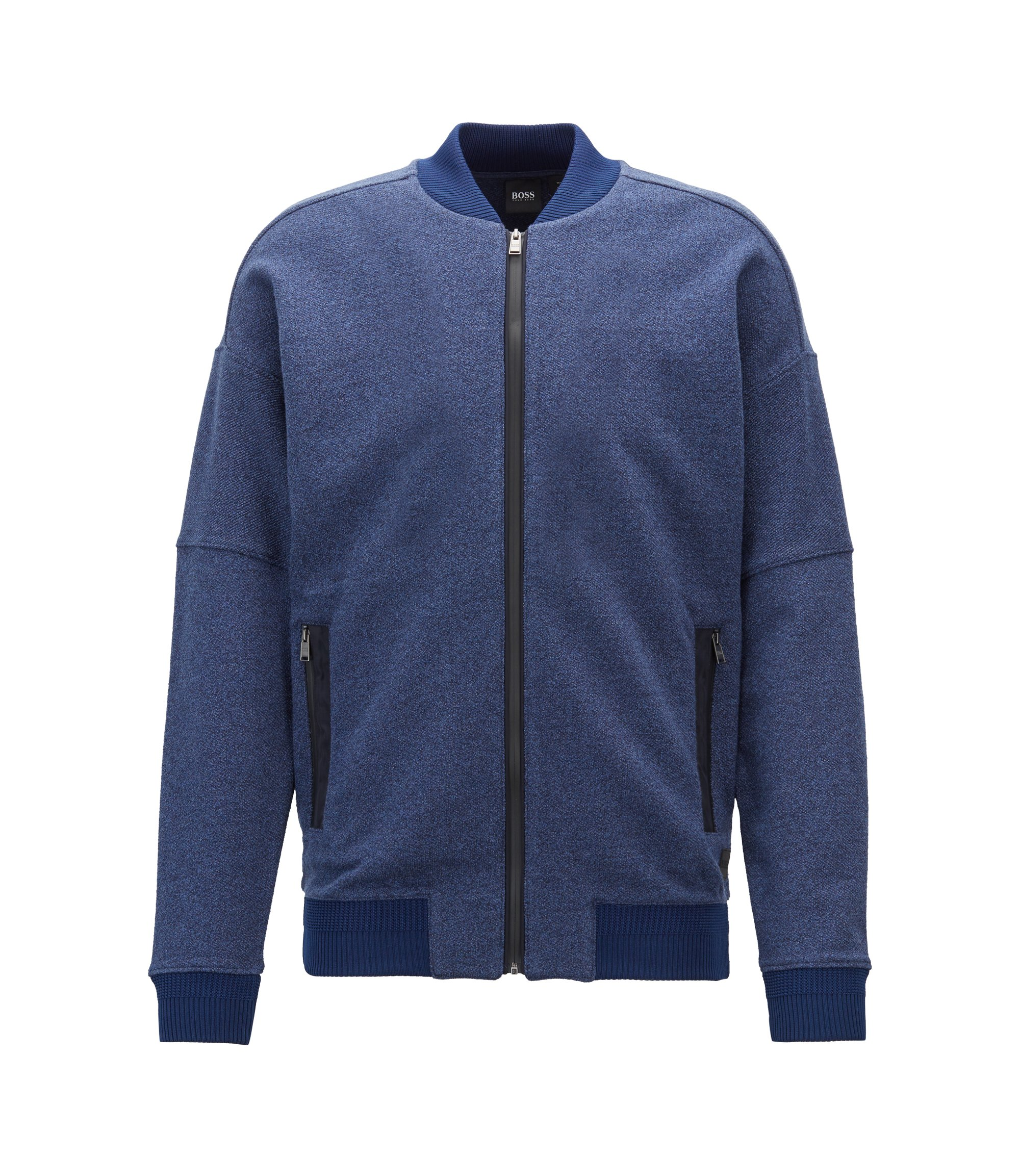 Sweat zippé en molleton French Terry de coton effet denim chiné, Bleu