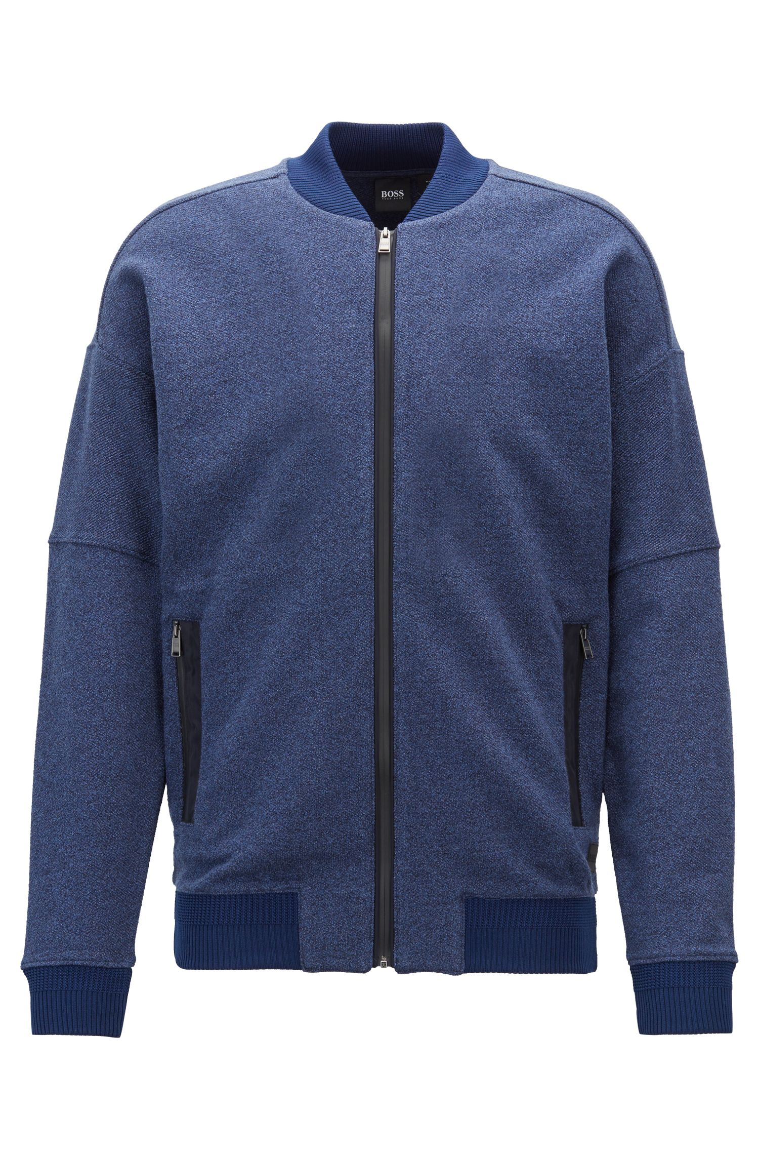 Sweatjacke aus meliertem Baumwoll-Terry in Denim-Optik