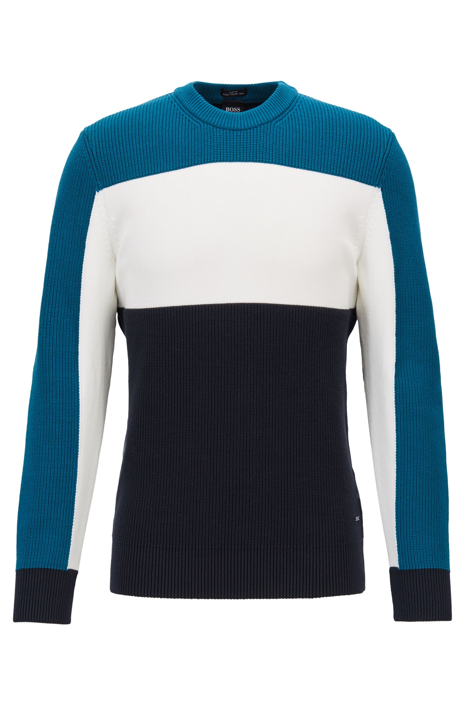 Pullover in Colour-Block-Optik mit Struktur-Mix, Blau