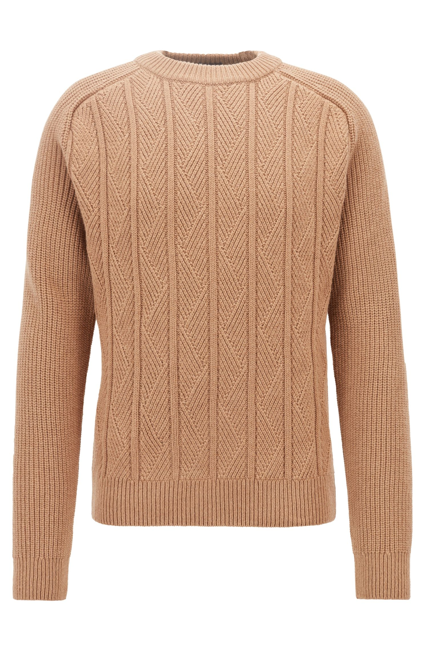 Aran sweater in virgin wool with silk and cashmere, Beige