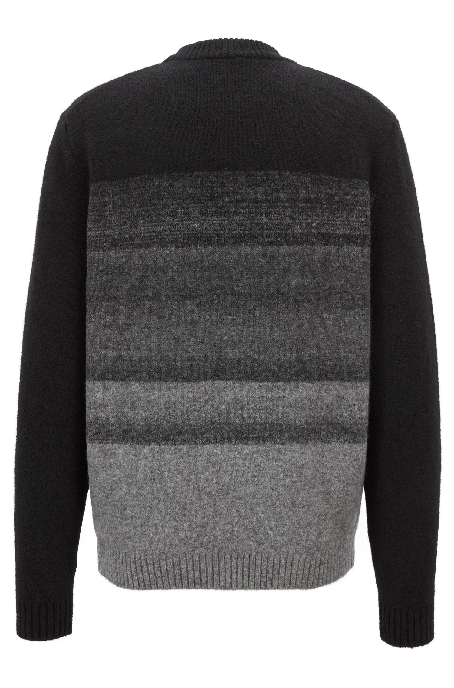 Maglione in misto lana con effetto dégradé, Nero