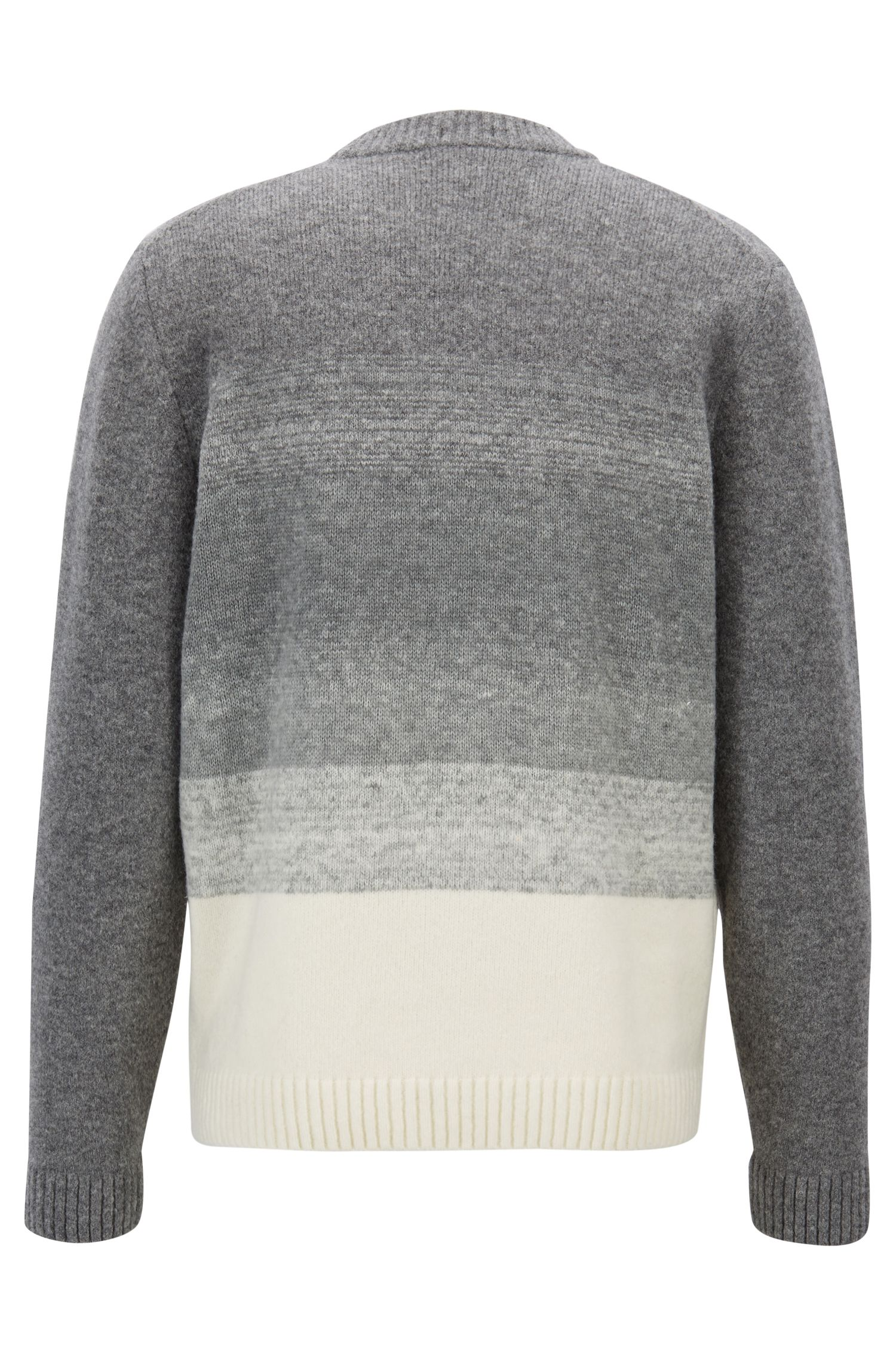 Knitted sweater in a wool blend with dégradé effect, Silver