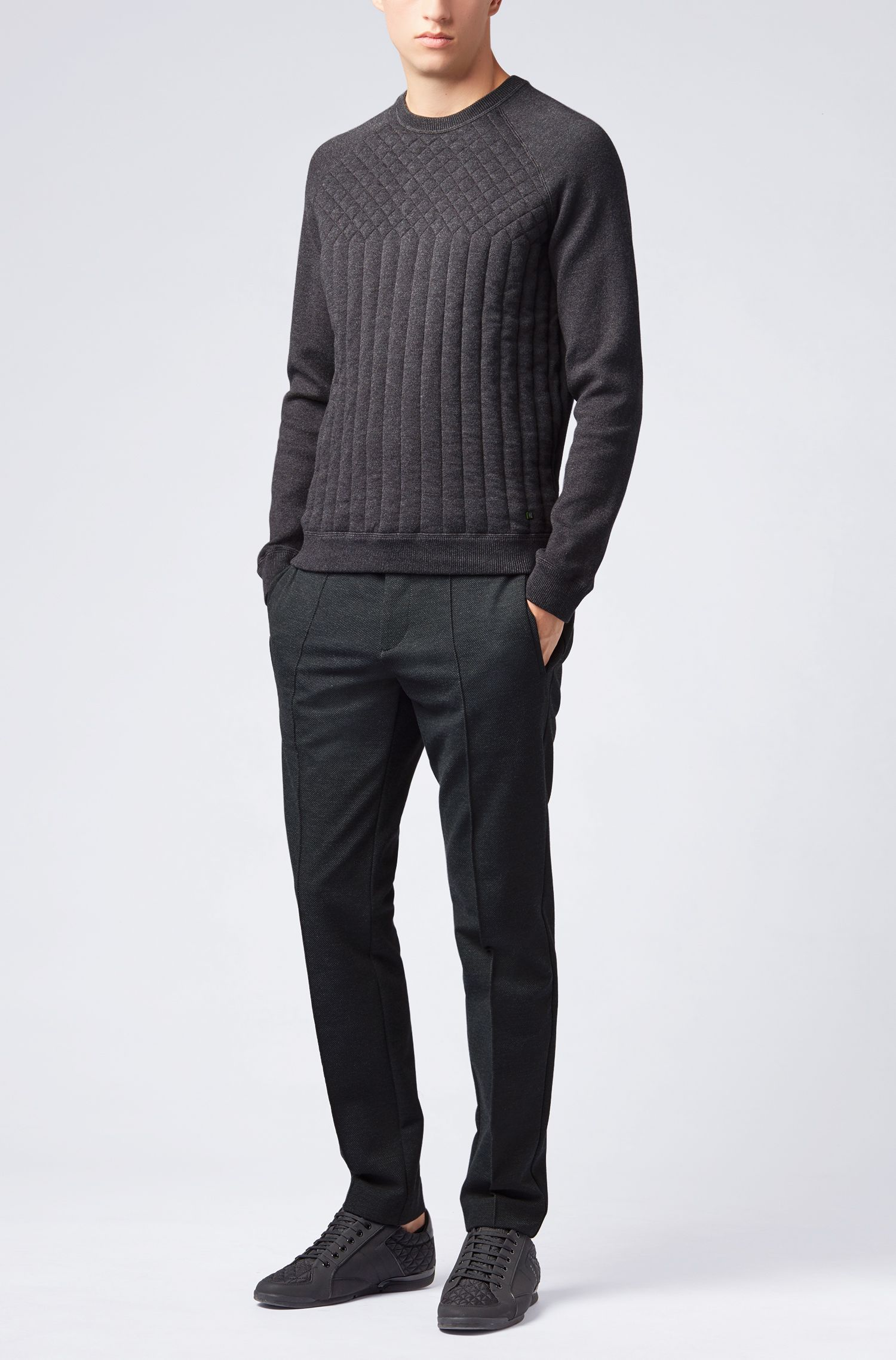 Knitted sweater in a melange blend with quilting details, Anthracite