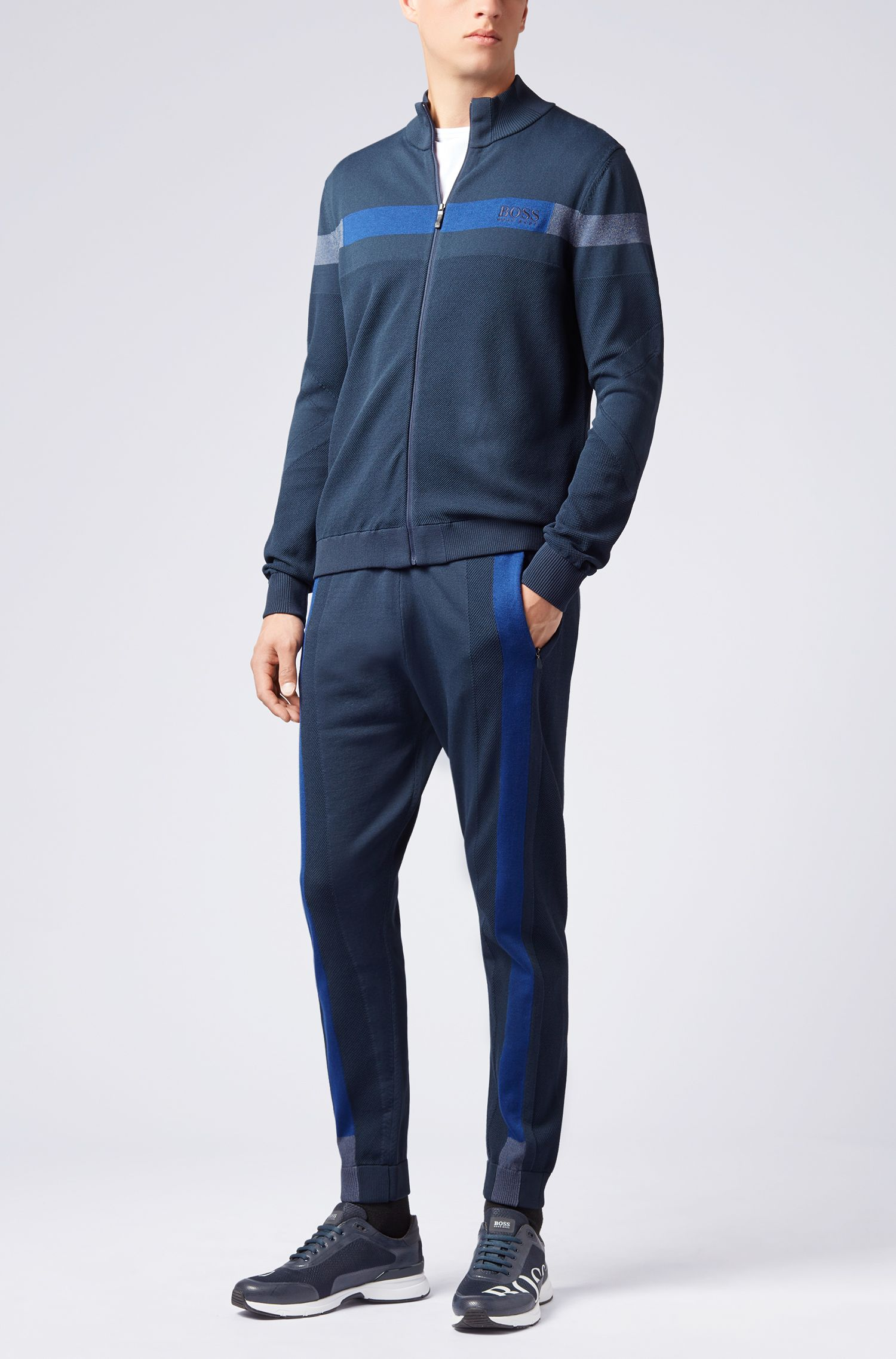 Reflective-detail jogging bottoms in stretch fabric with Thermolite®, Dark Blue