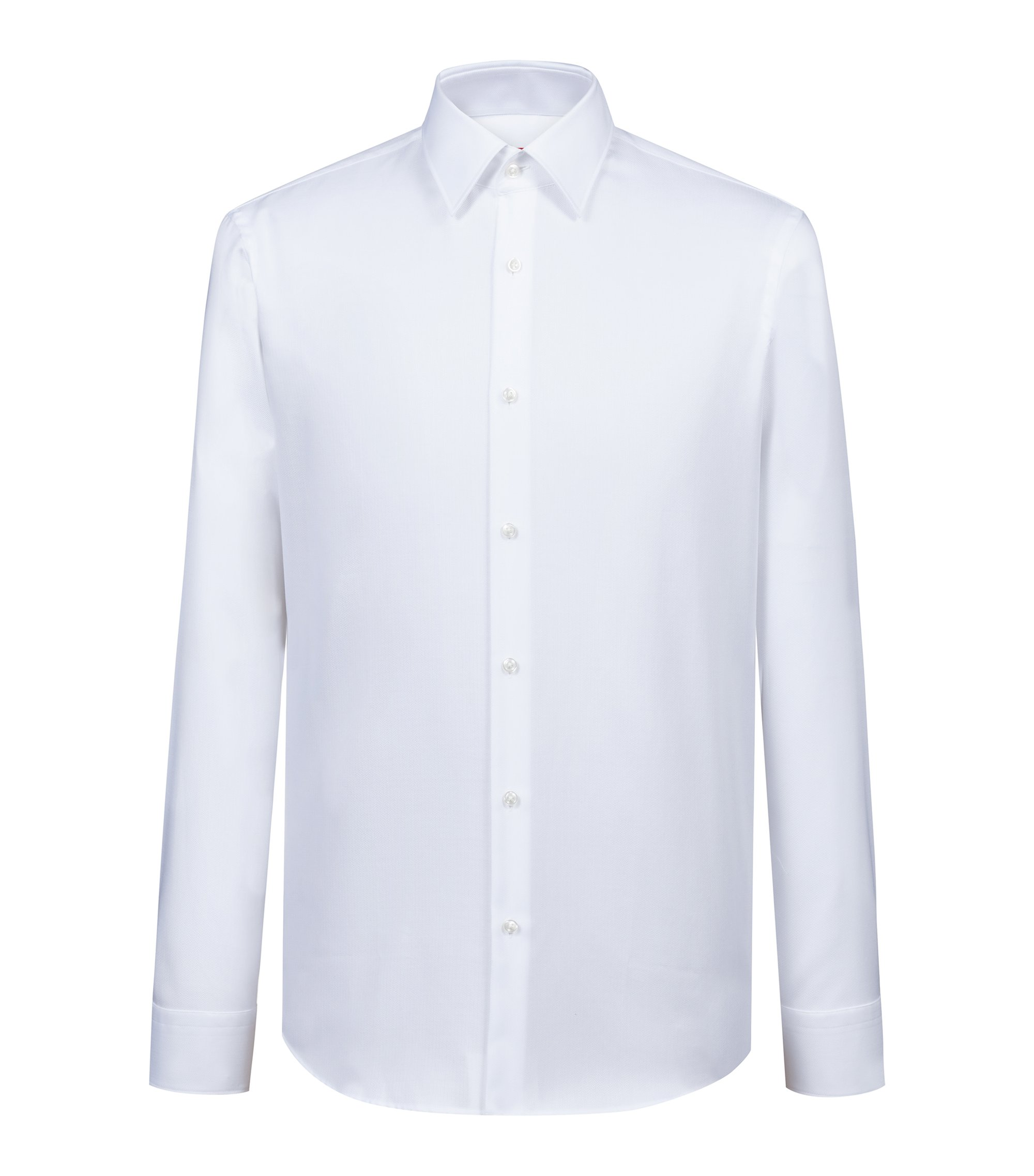 Regular-fit shirt in easy-iron herringbone cotton, White