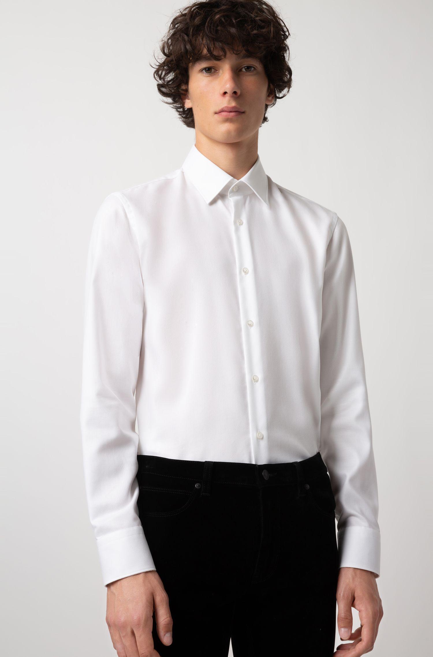 Chemise Regular Fit à chevrons, en coton facile à repasser, Blanc