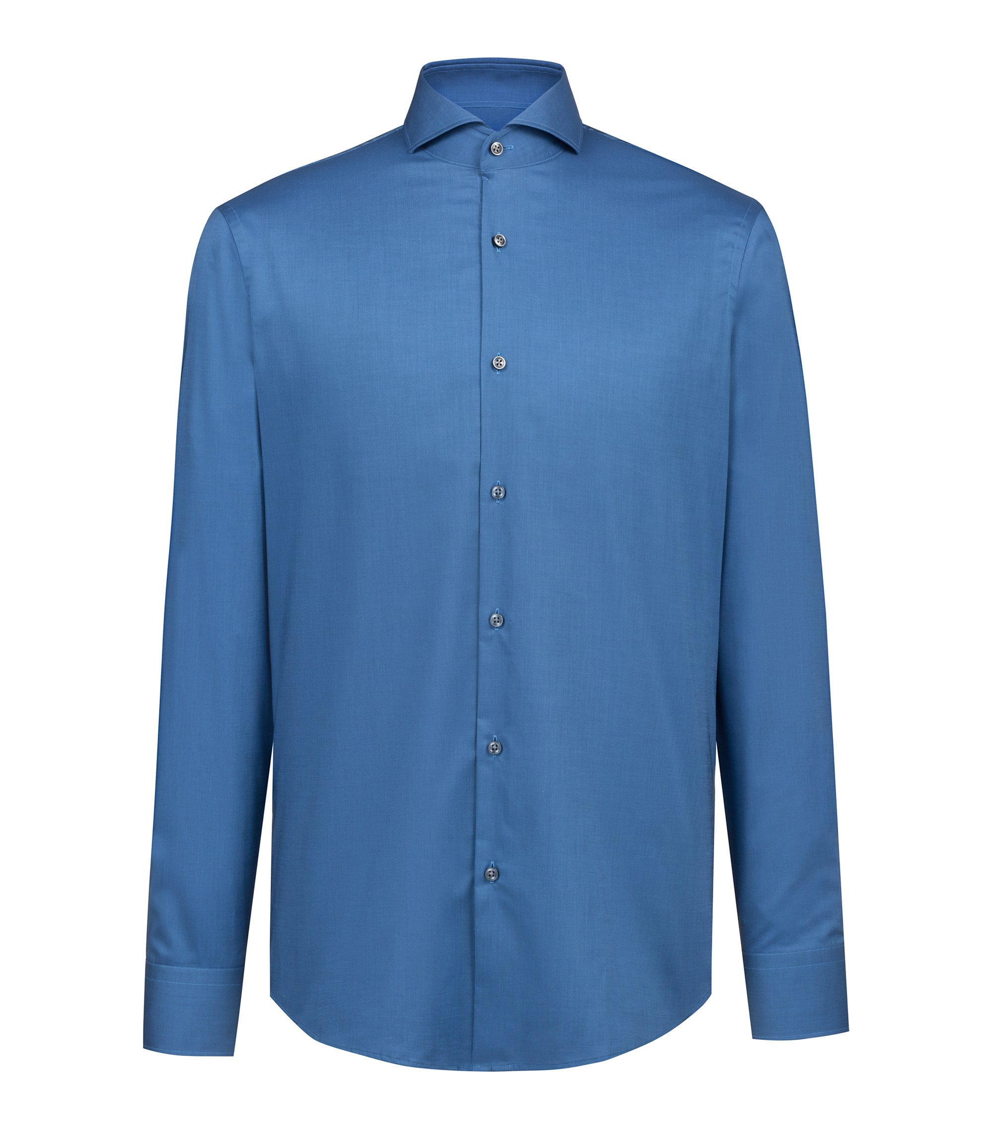 Camicia regular fit in cotone facile da stirare, Blu