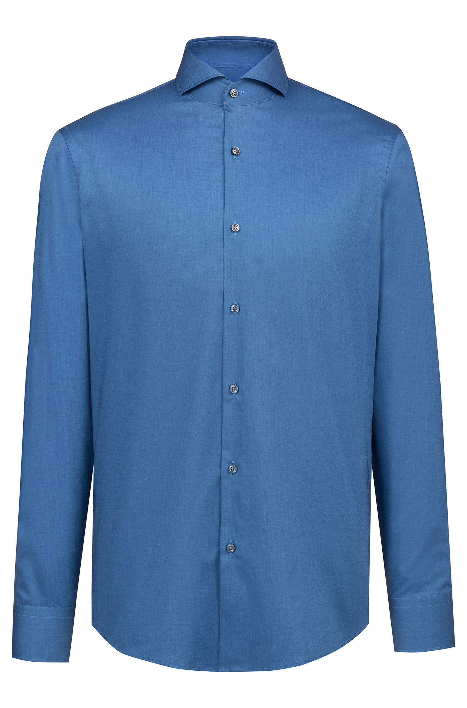 Regular-fit shirt in easy-iron cotton, Blue