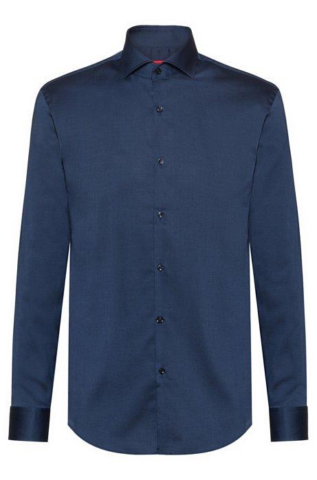 Slim-fit shirt in easy-iron cotton, Dark Blue
