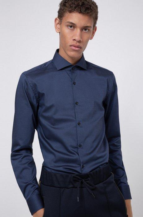 Slim-Fit Hemd aus bügelleichter Baumwolle, Dunkelblau