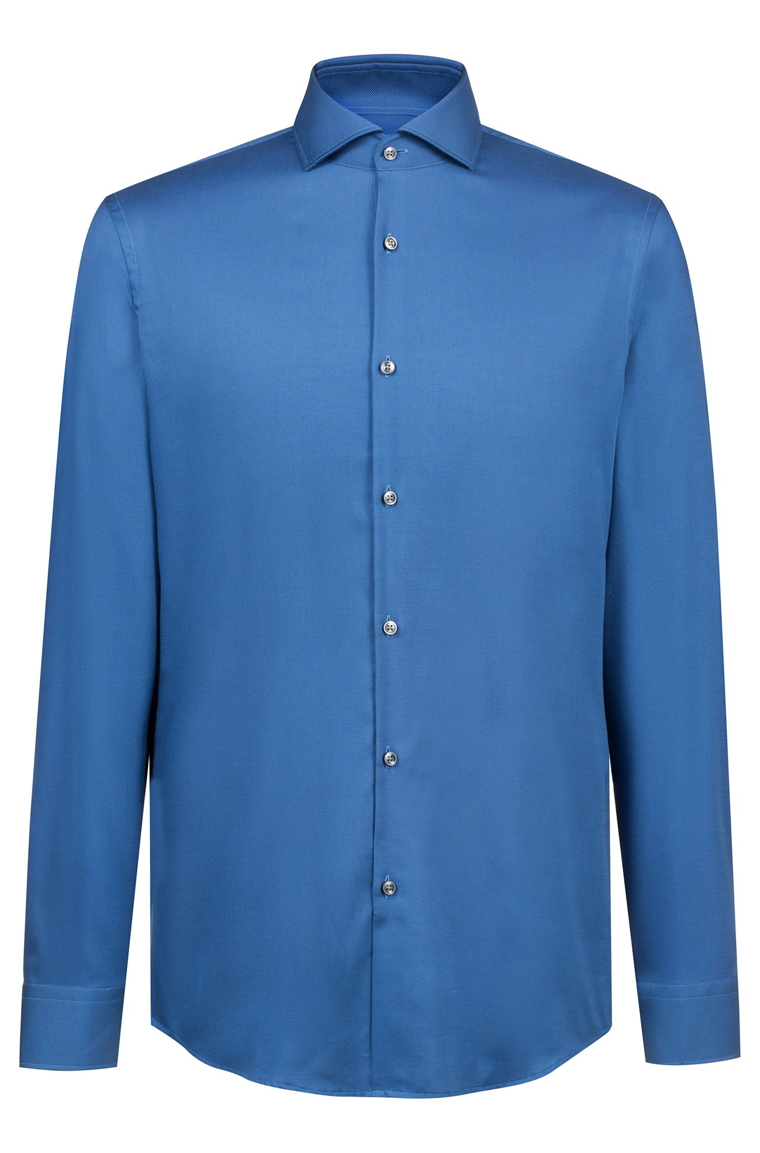 Camicia slim fit in cotone facile da stirare, Blu