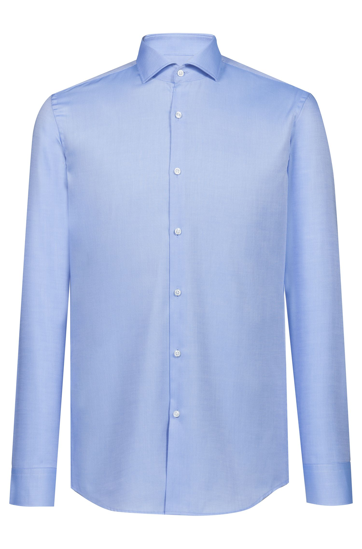 Slim-Fit Hemd aus bügelleichter Baumwolle, Hellblau