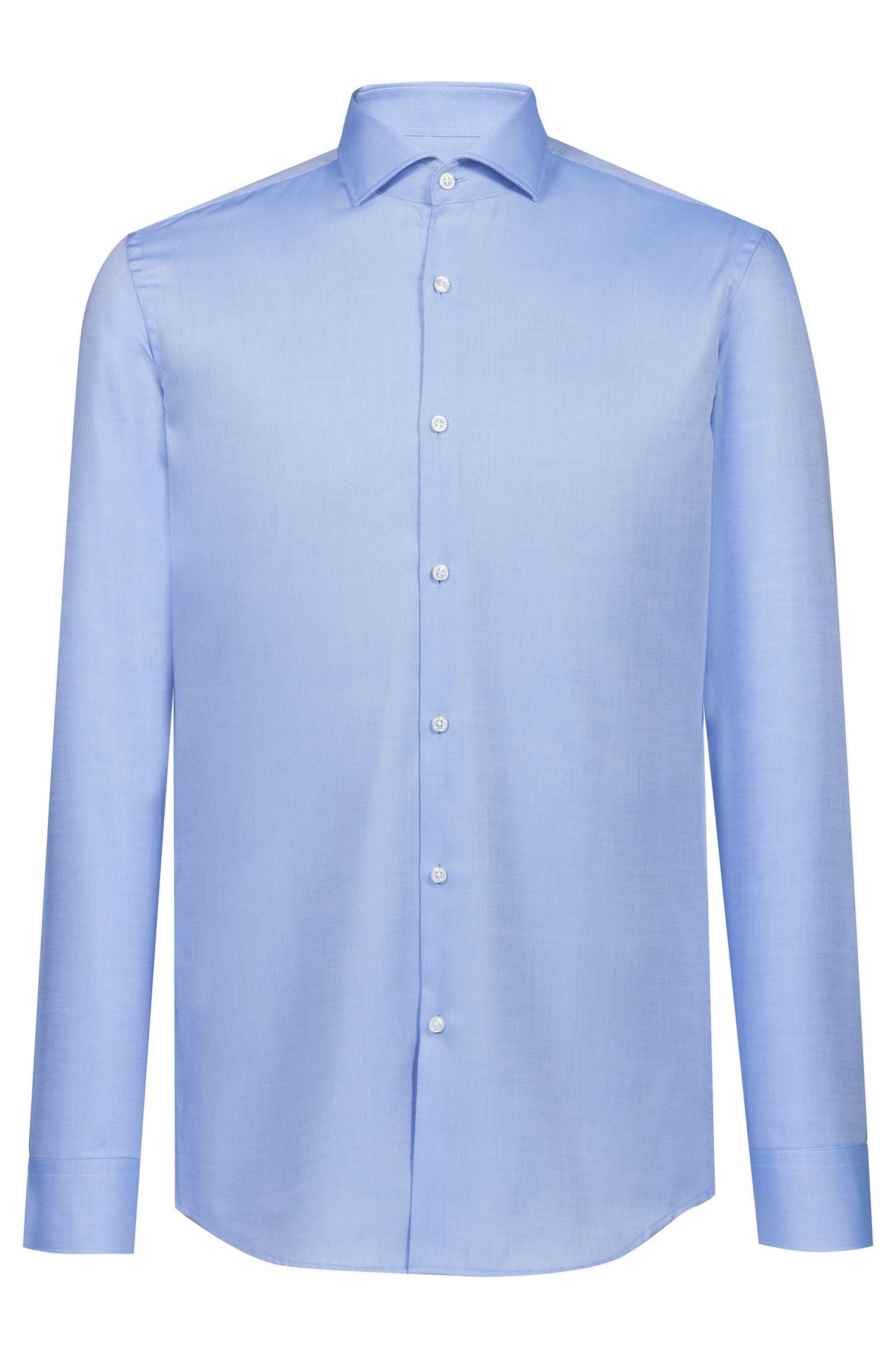 Camisa slim fit en algodón de planchado fácil, Celeste