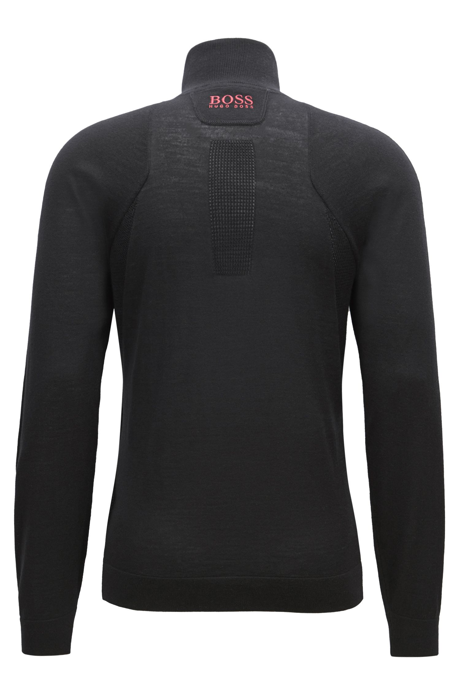 Maglione con colletto con zip in lana merino idrorepellente, Nero