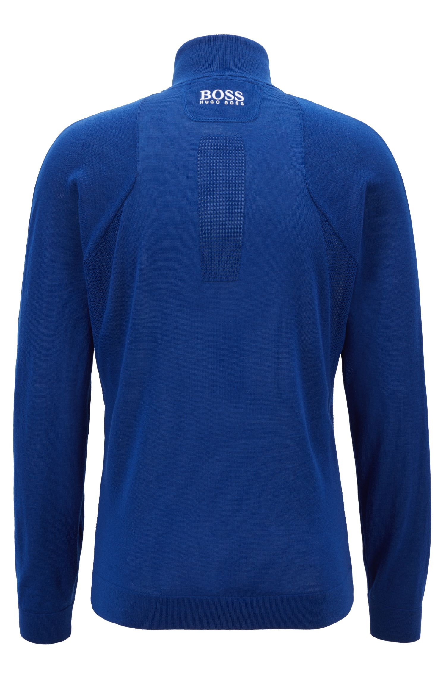 Zip-neck sweater in water-repellent merino wool, Blue