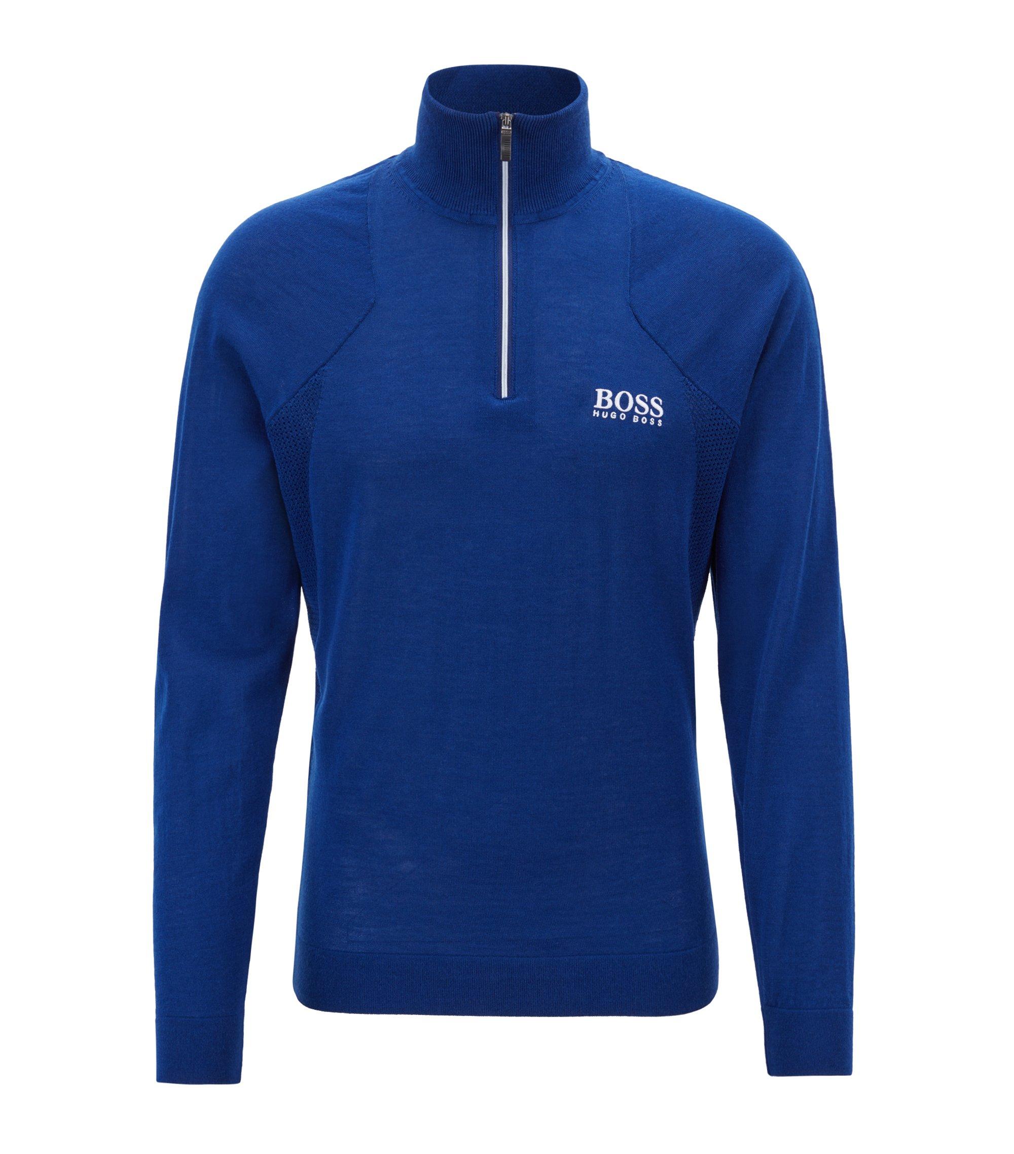Zip-neck sweater in water-repellent merino wool, Blue
