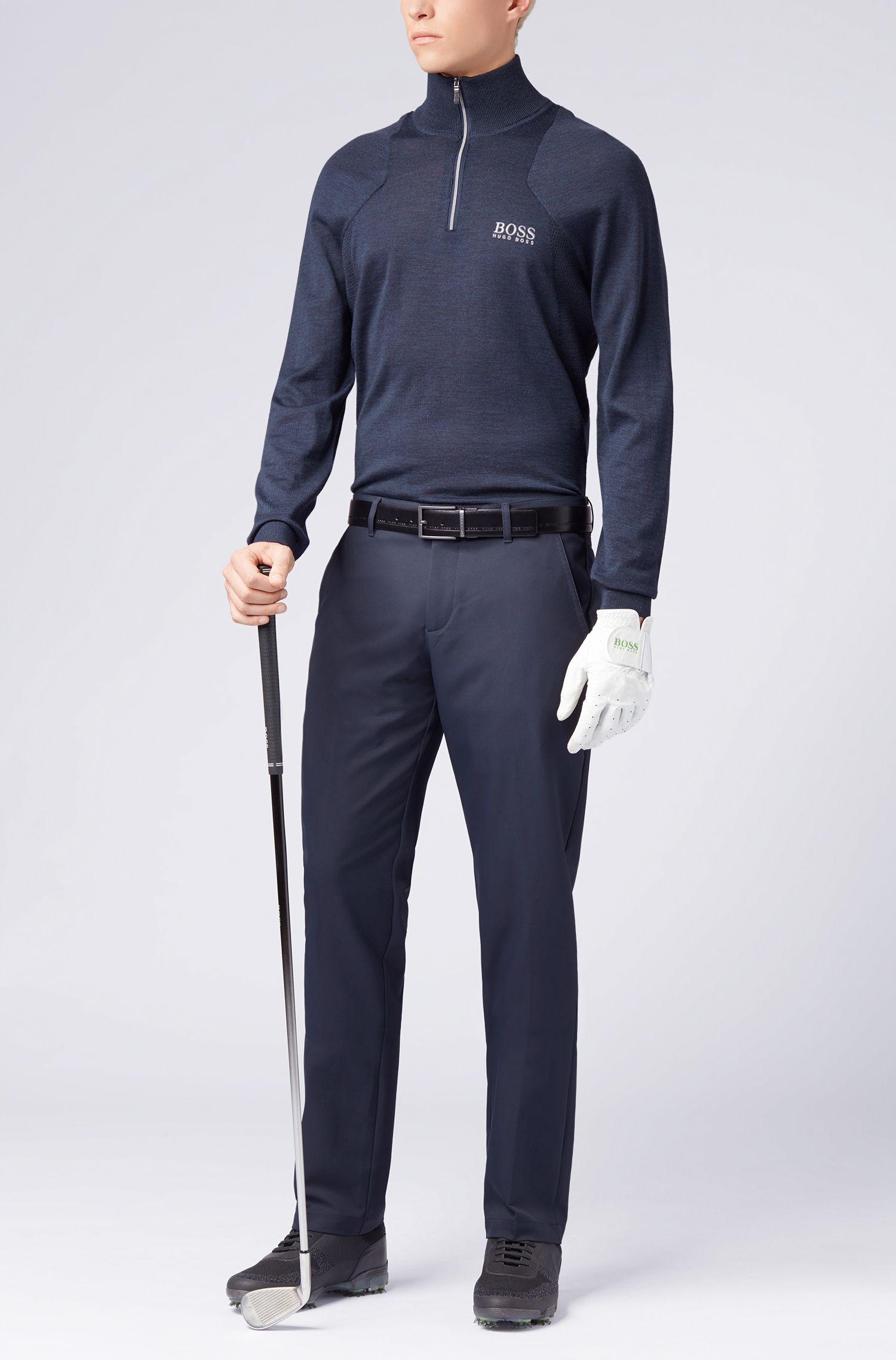 Jersey de lana de merino repelente al agua con cremallera en el cuello, Azul oscuro