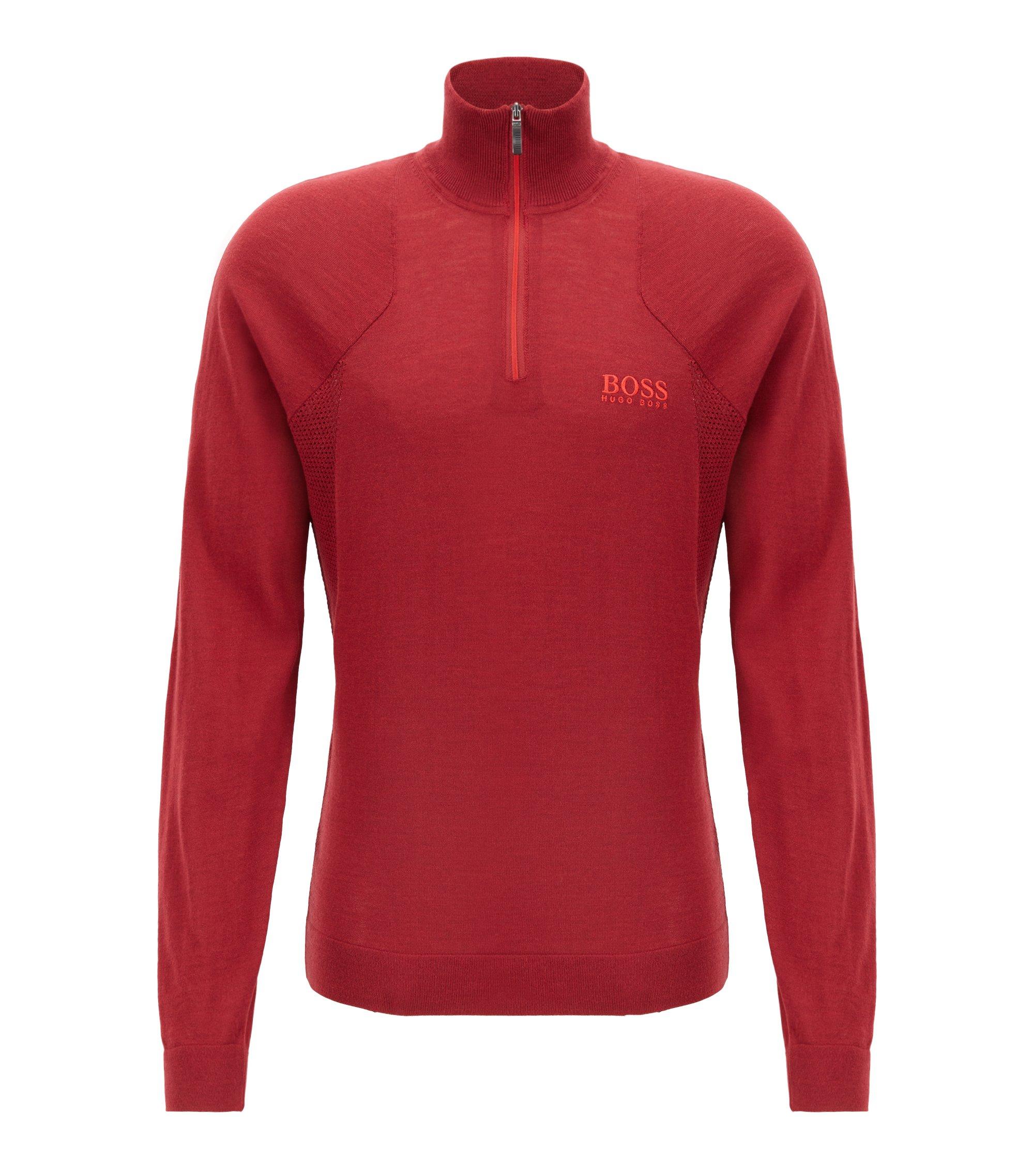 Zip-neck sweater in water-repellent merino wool, Red