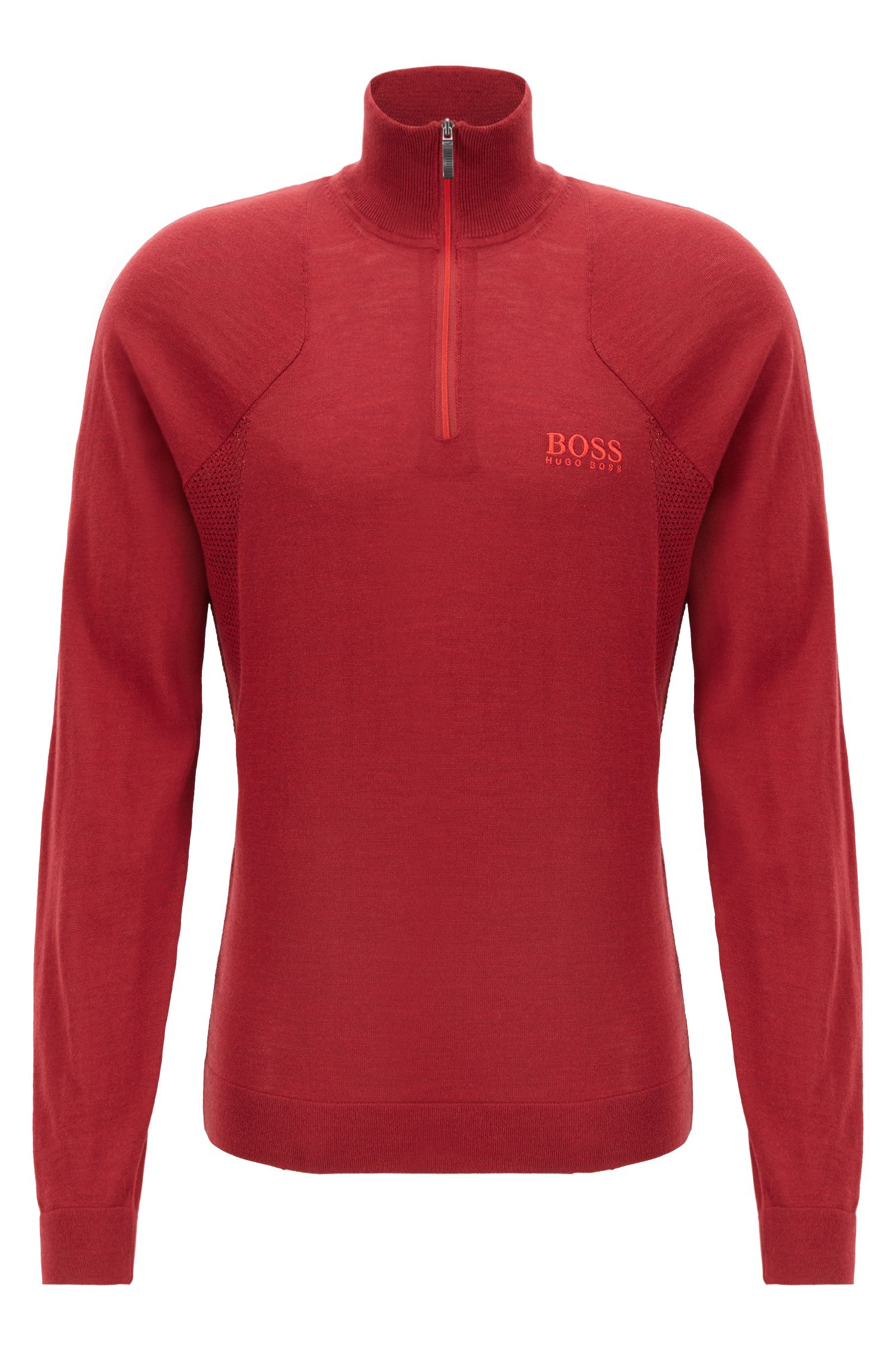 Zip-neck sweater in water-repellent merino wool, Red