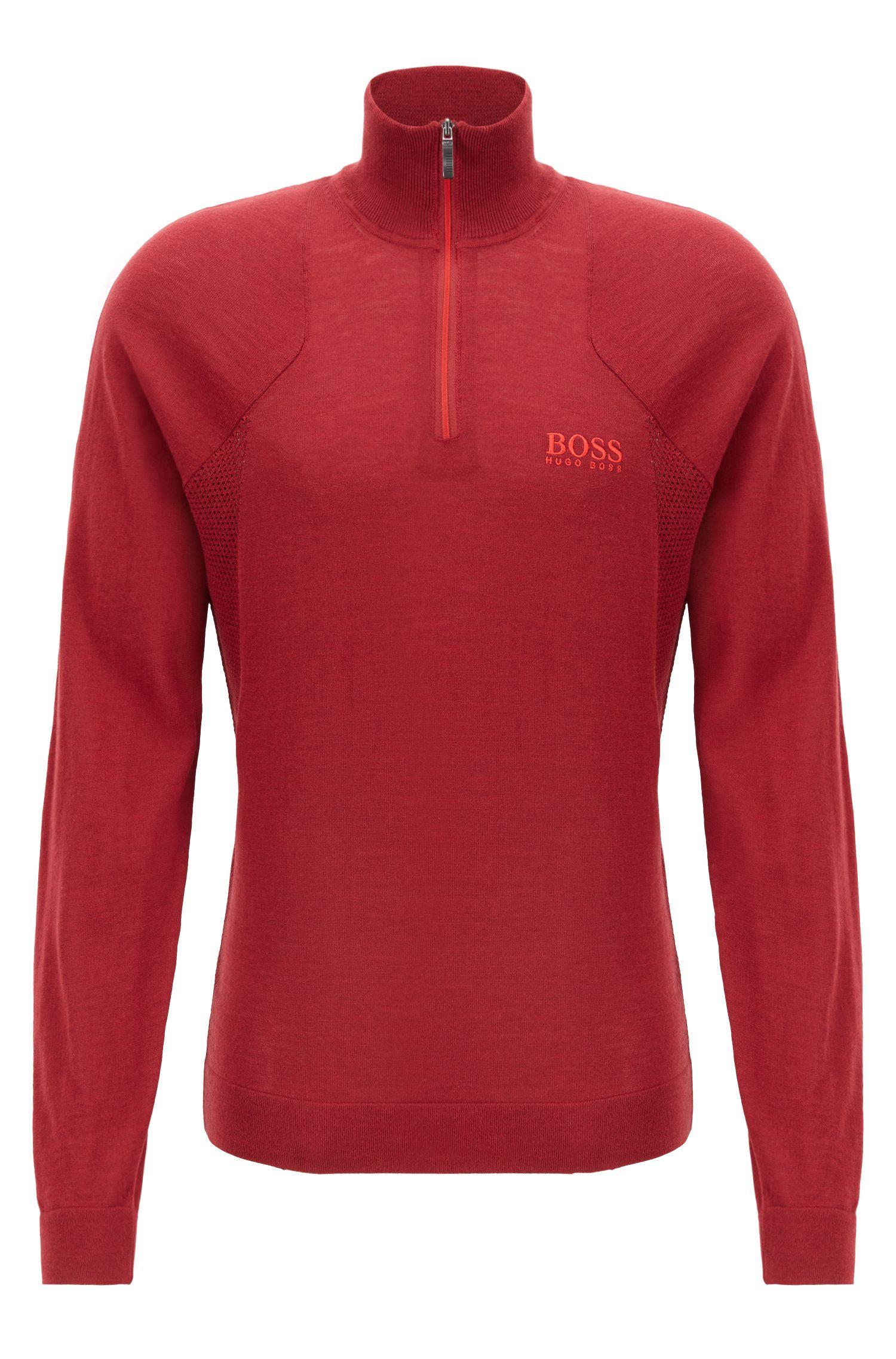Pullover aus wasserabweisender Merinowolle mit Troyerkragen, Rot
