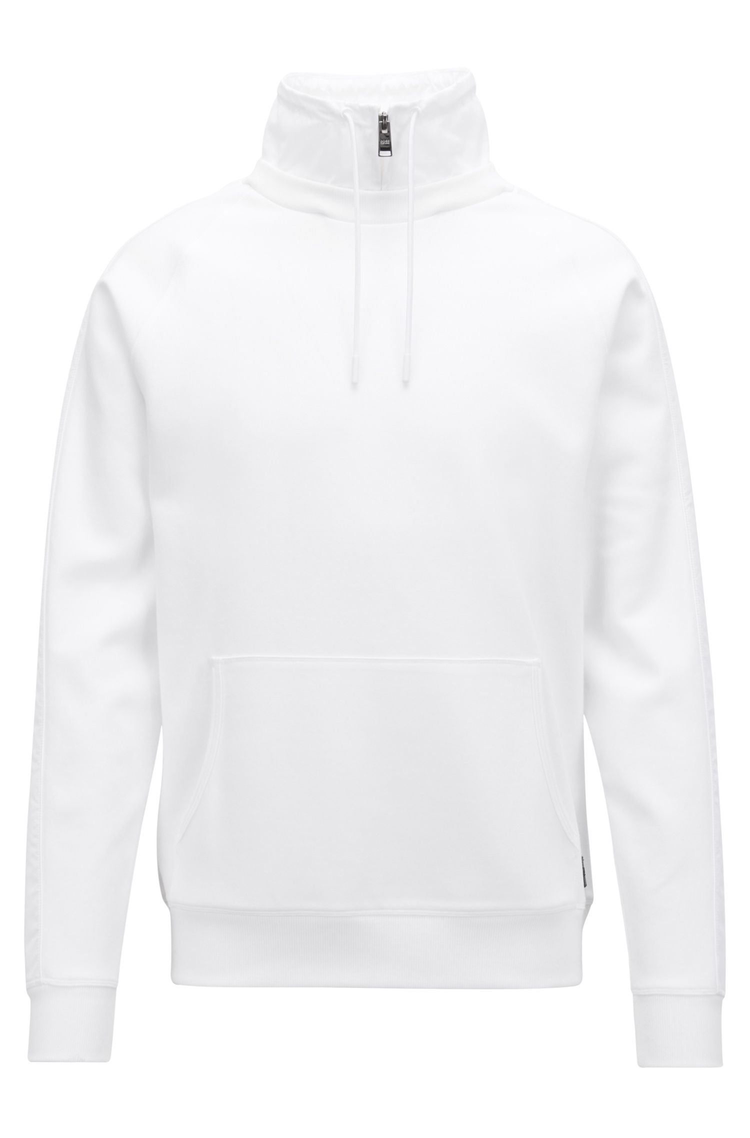 Water-repellent sweatshirt with detachable stand collar, White