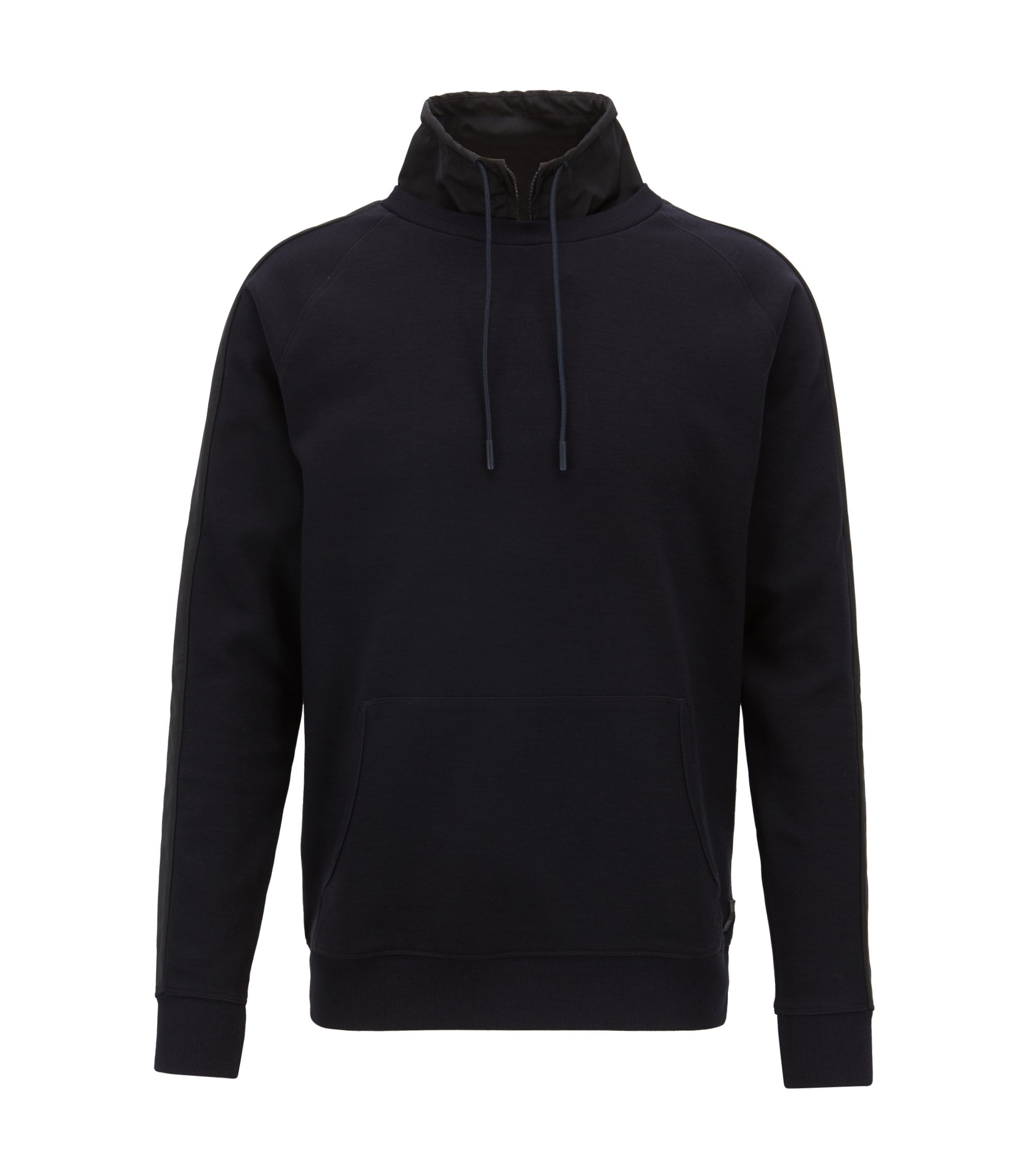 Water-repellent sweatshirt with detachable stand collar, Dark Blue