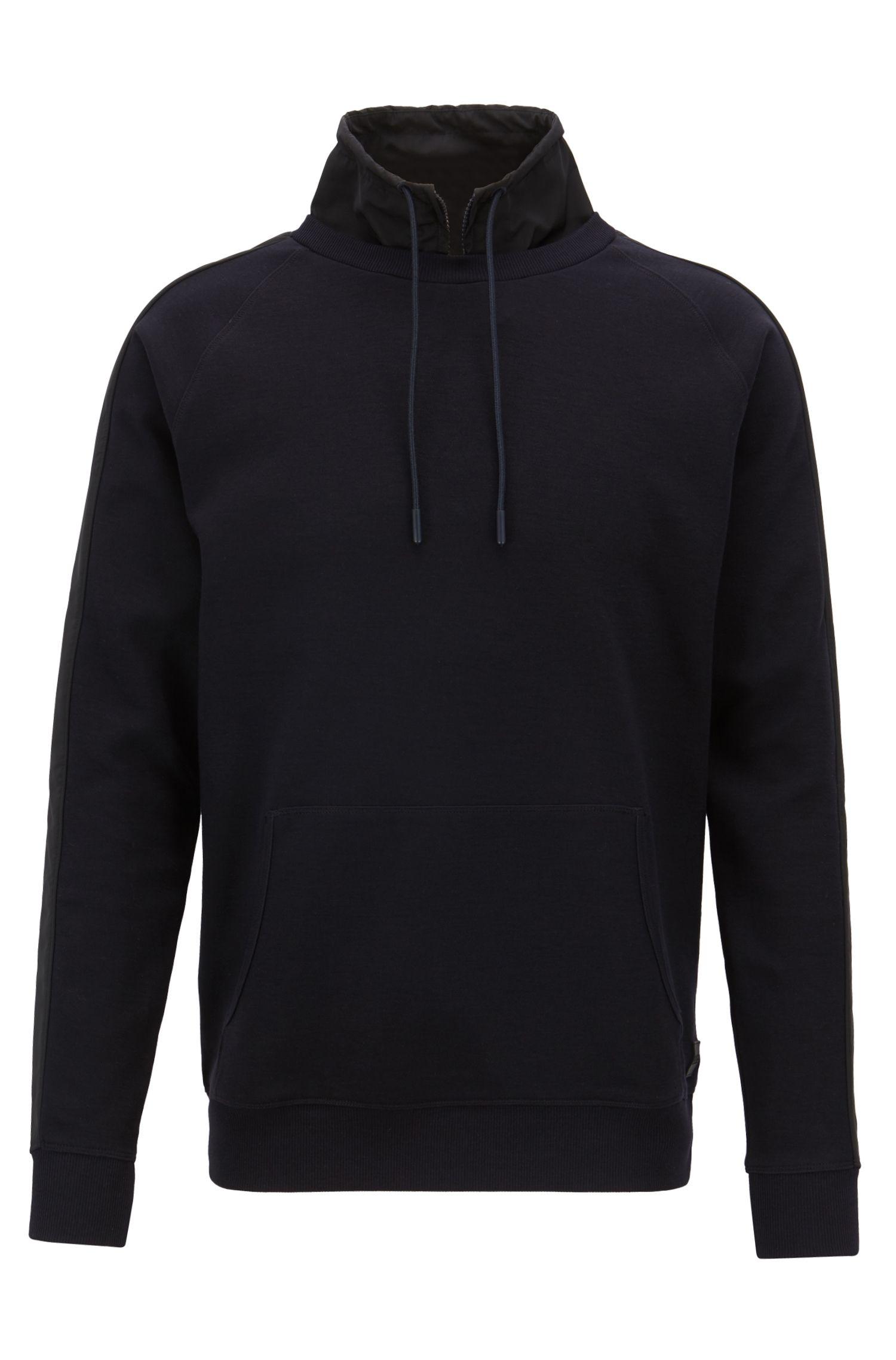 Water-repellent sweatshirt with detachable stand collar, Dark Blue